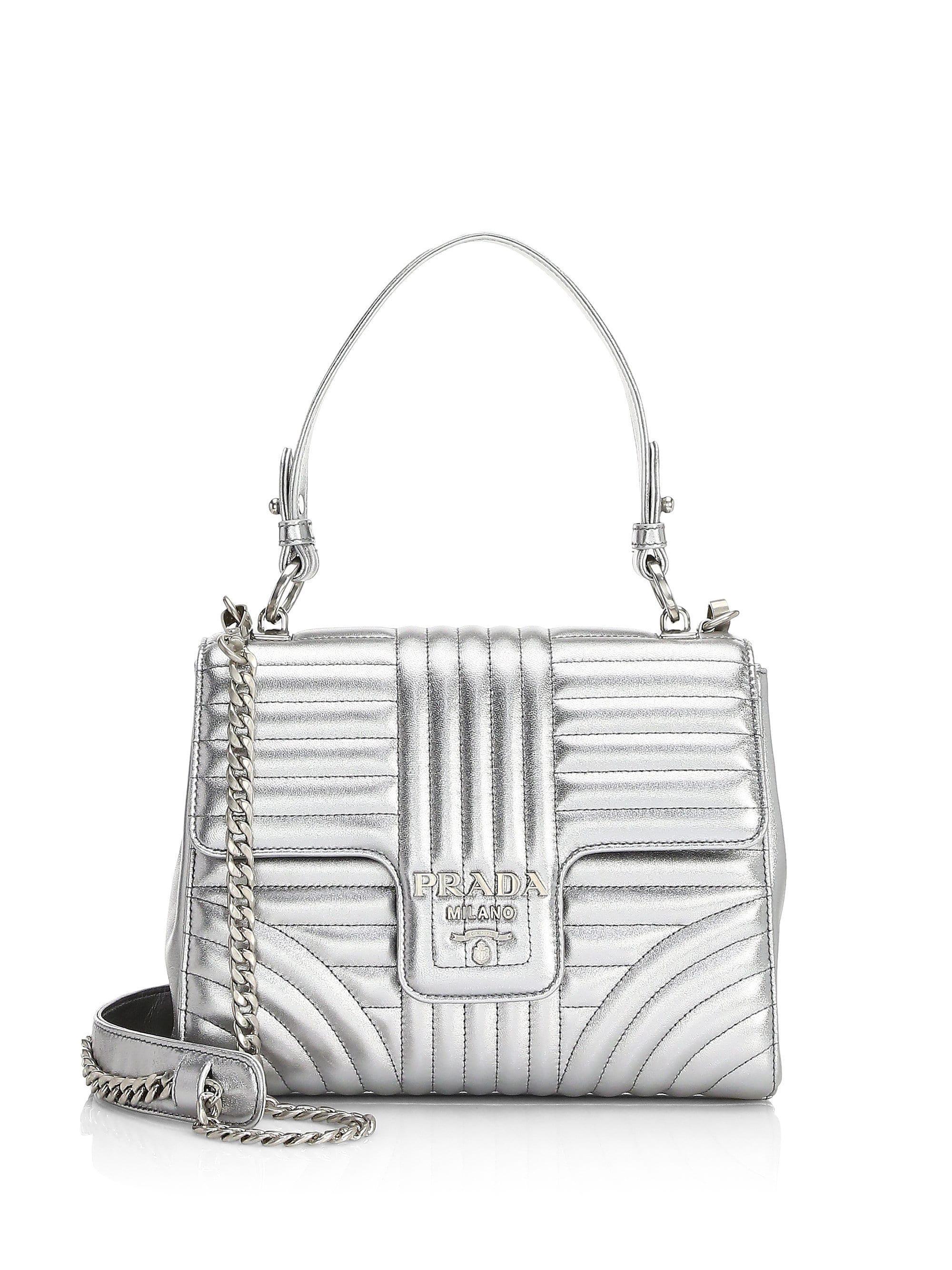 522cd916cdb4 Prada Diagramme Leather Convertible Shoulder Bag - Lyst