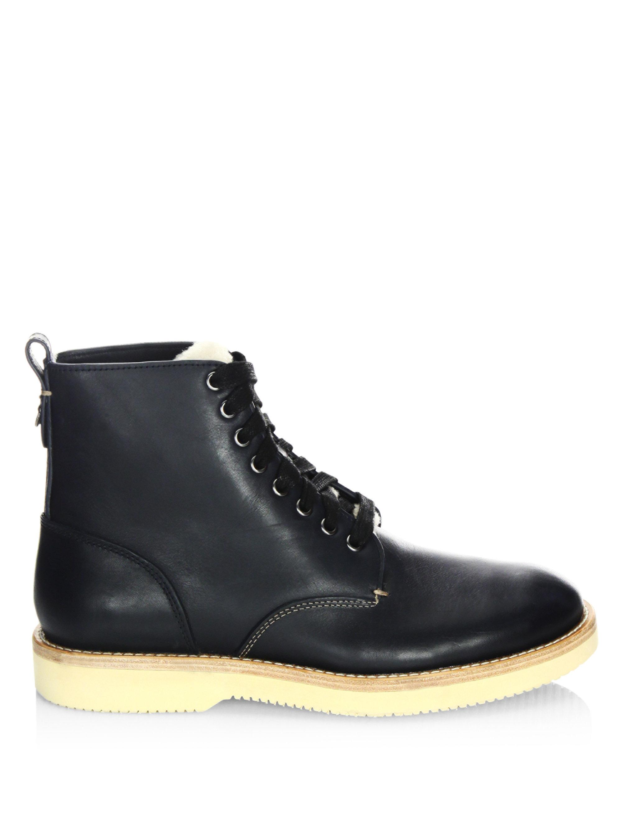 Coach Leather Shearling Derby Boots For Men Lyst