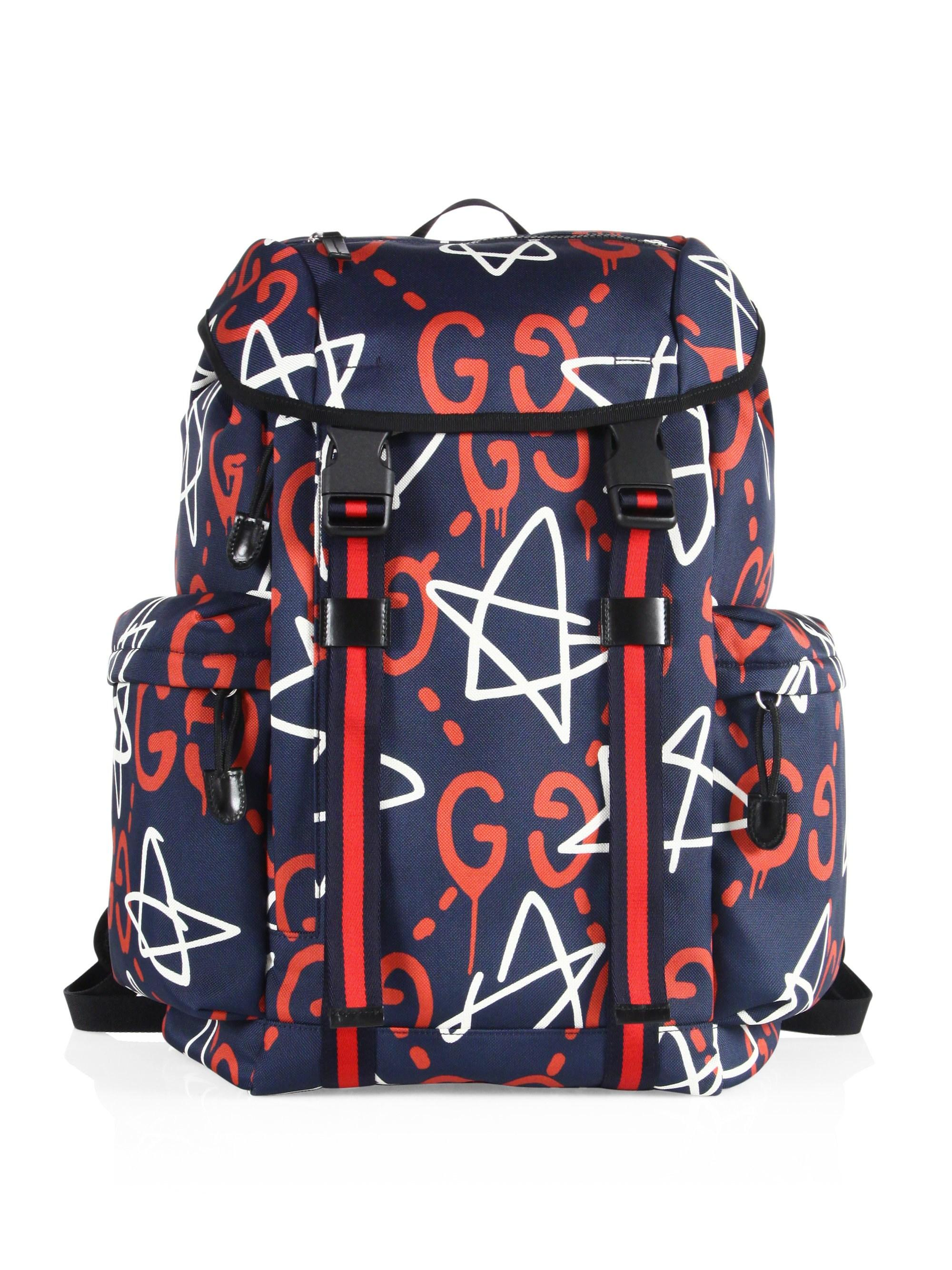 7bb12581bb3f Gucci Ghost Stars Canvas Backpack in Blue for Men - Lyst