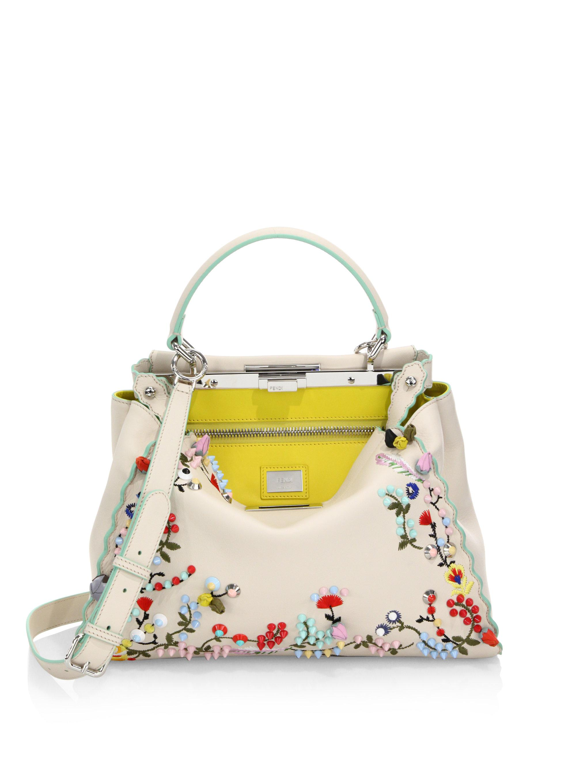 26a8d428a0f Lyst - Fendi Peekaboo Studded Floral-embroidered Leather Satchel