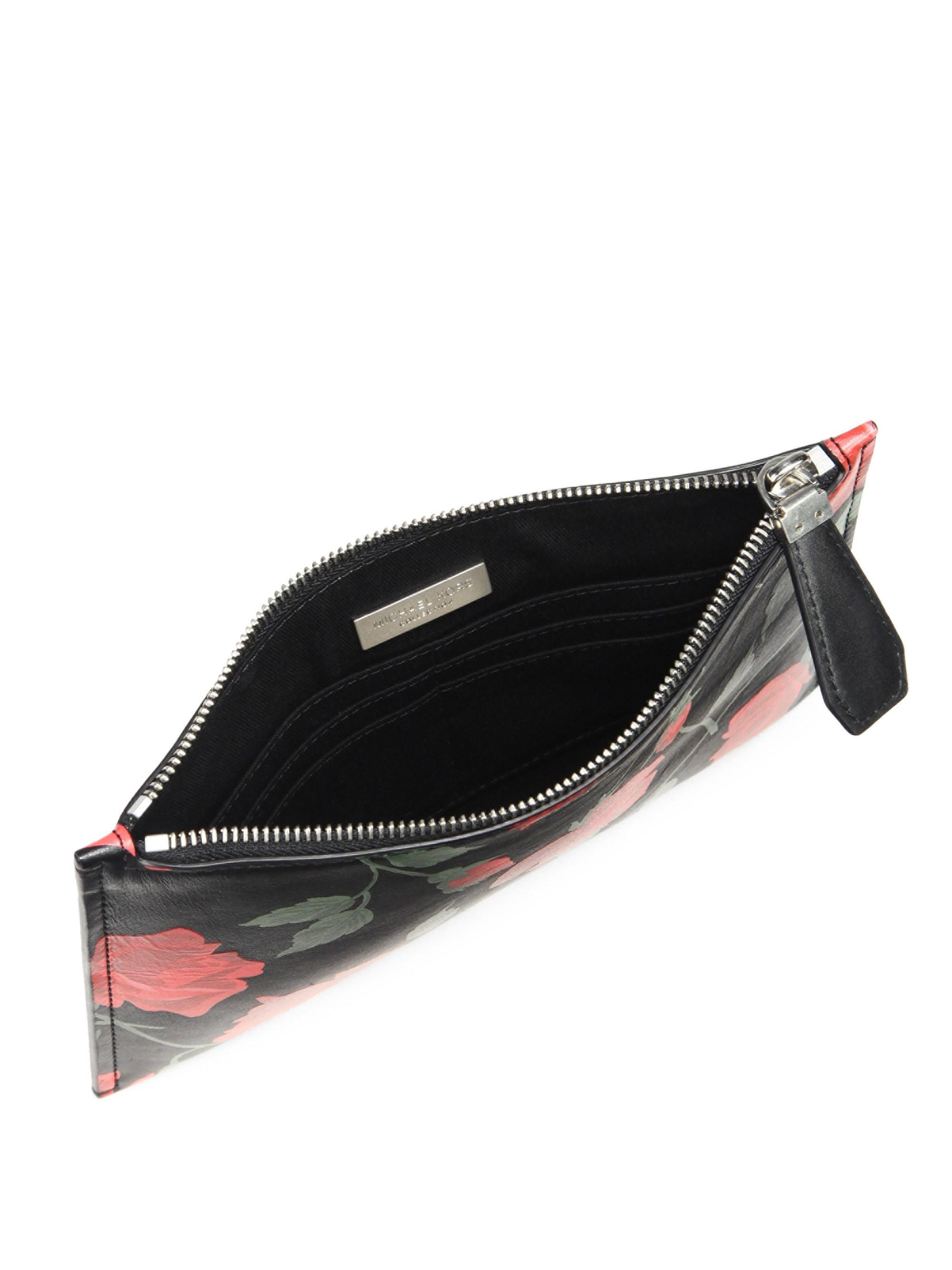 9caefb0bc451ba Michael Kors Women's Large Rose-print Leather Pouch - Red Black in ...