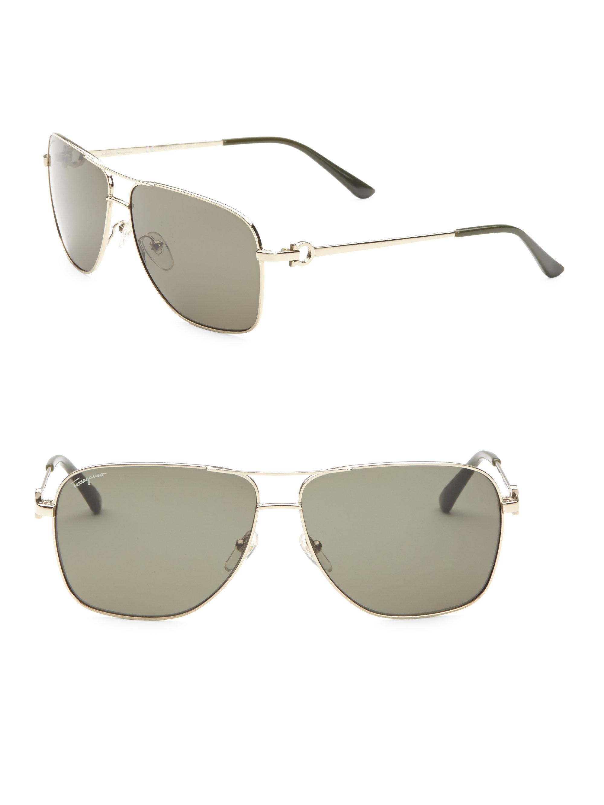 d43631d85d Lyst - Ferragamo Aviator Sunglasses in Metallic for Men