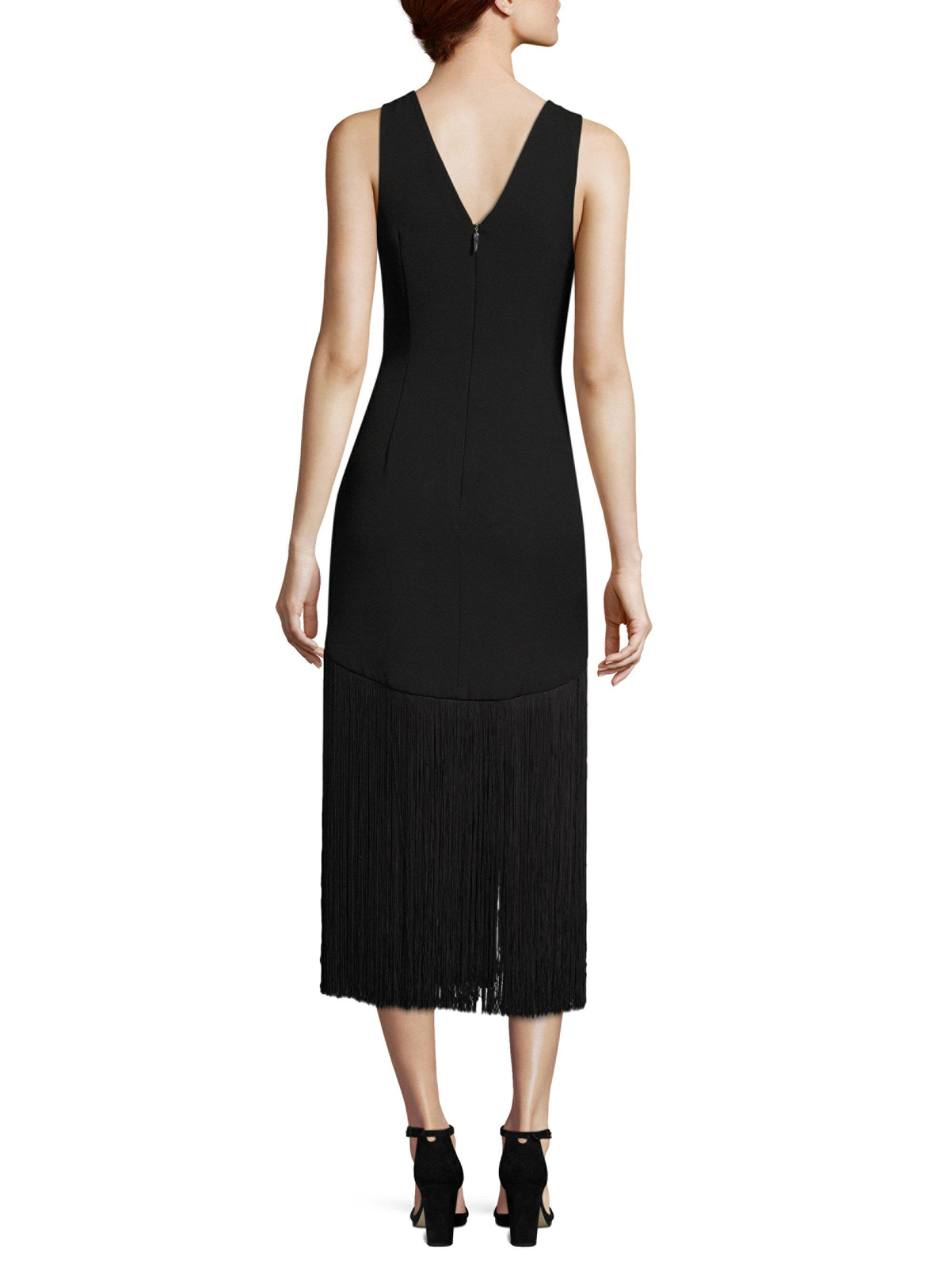 Lyst prabal gurung fringe sheath dress in black for Saks fifth avenue wedding guest dresses