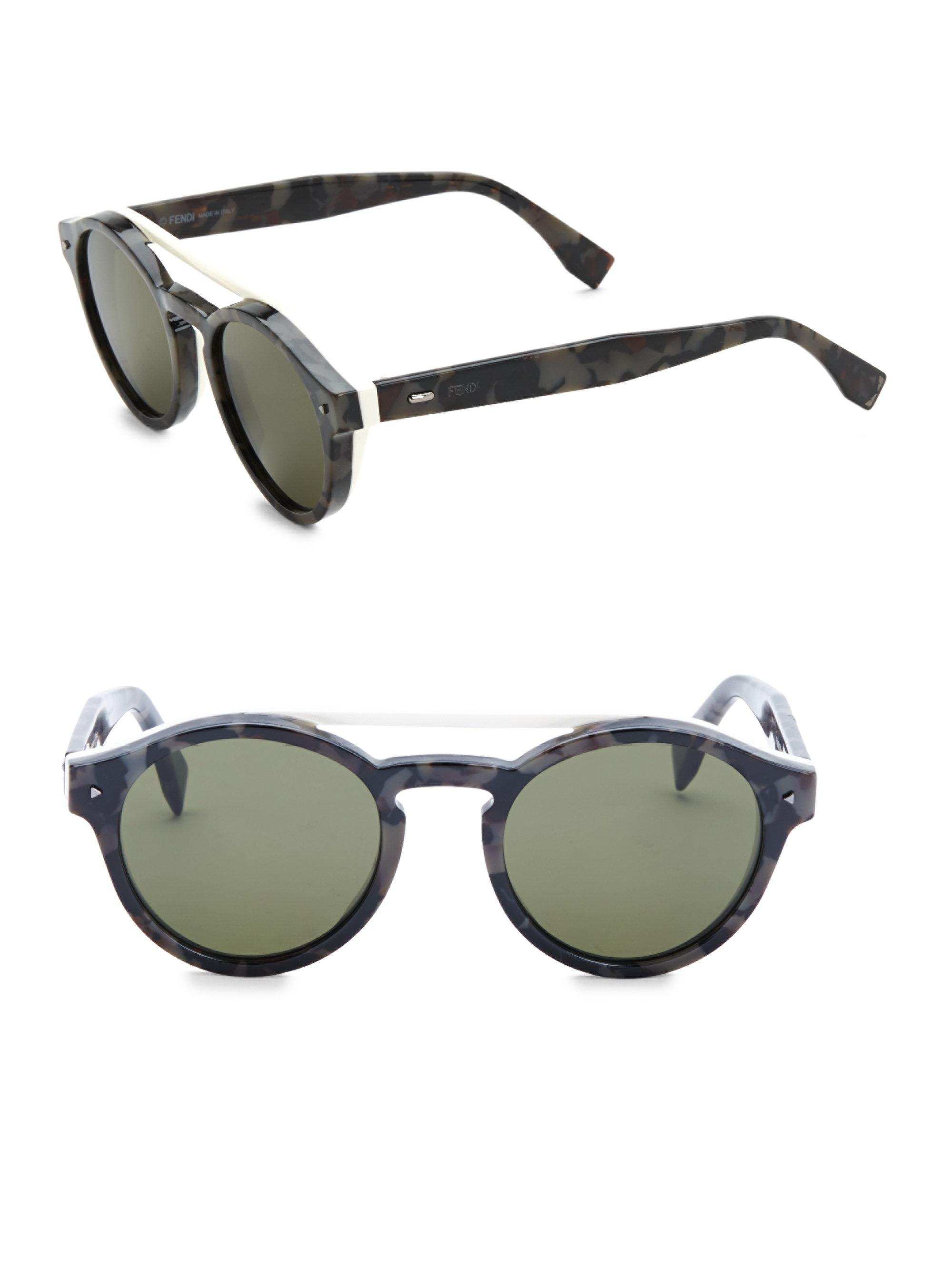 4cfb14821a6 Fendi. Men s Black 51mm Round Sunglasses. £293 From Saks Fifth Avenue