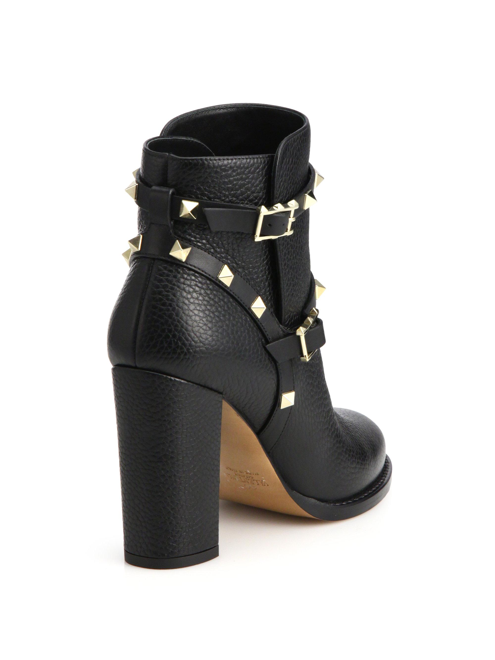 fa9665249217 Lyst - Valentino Rockstud Pebbled-Leather Ankle Boots in Black