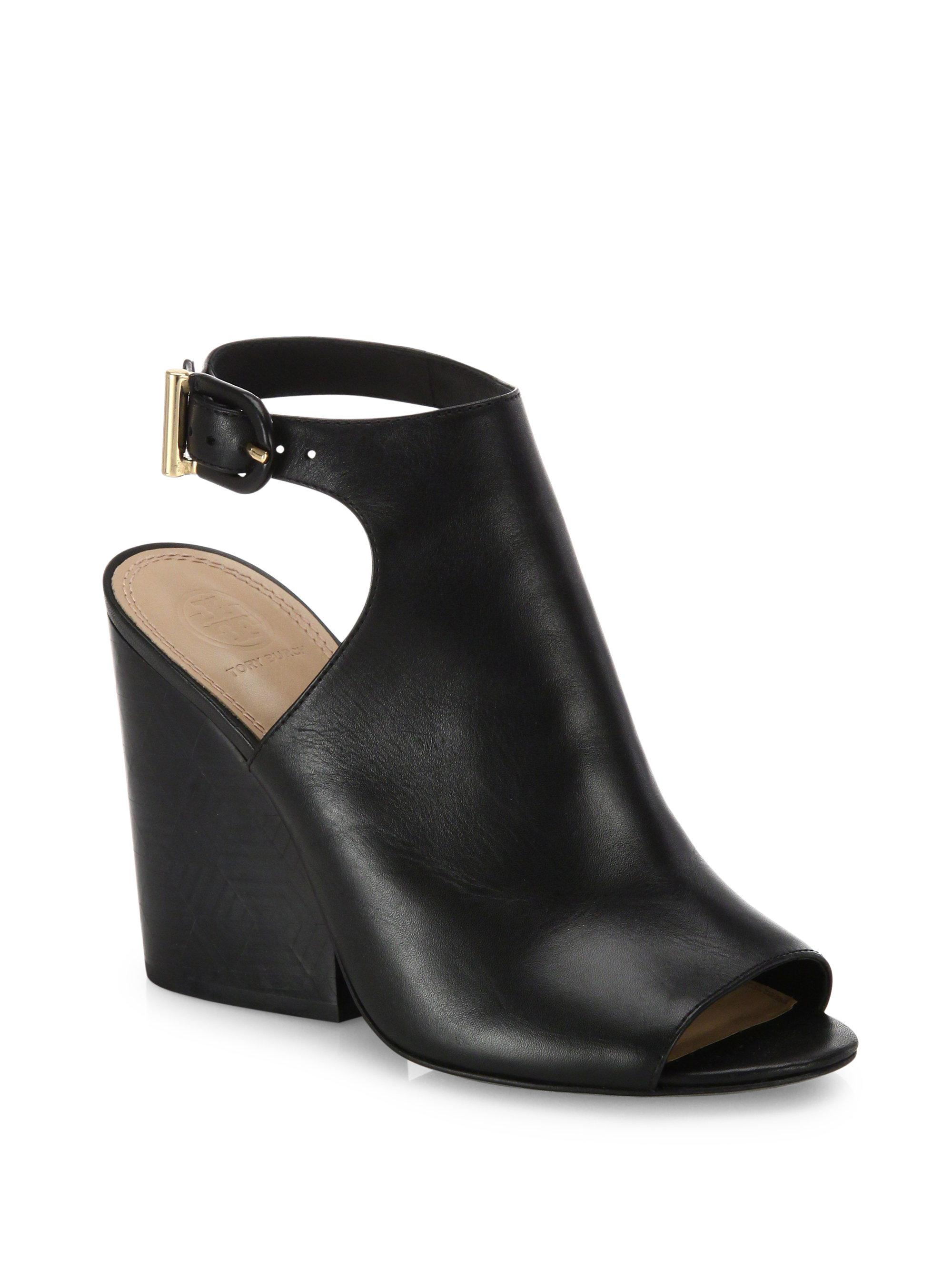 92c0d464e Lyst - Tory Burch Grove Open-toe Leather Wedge Booties in Black