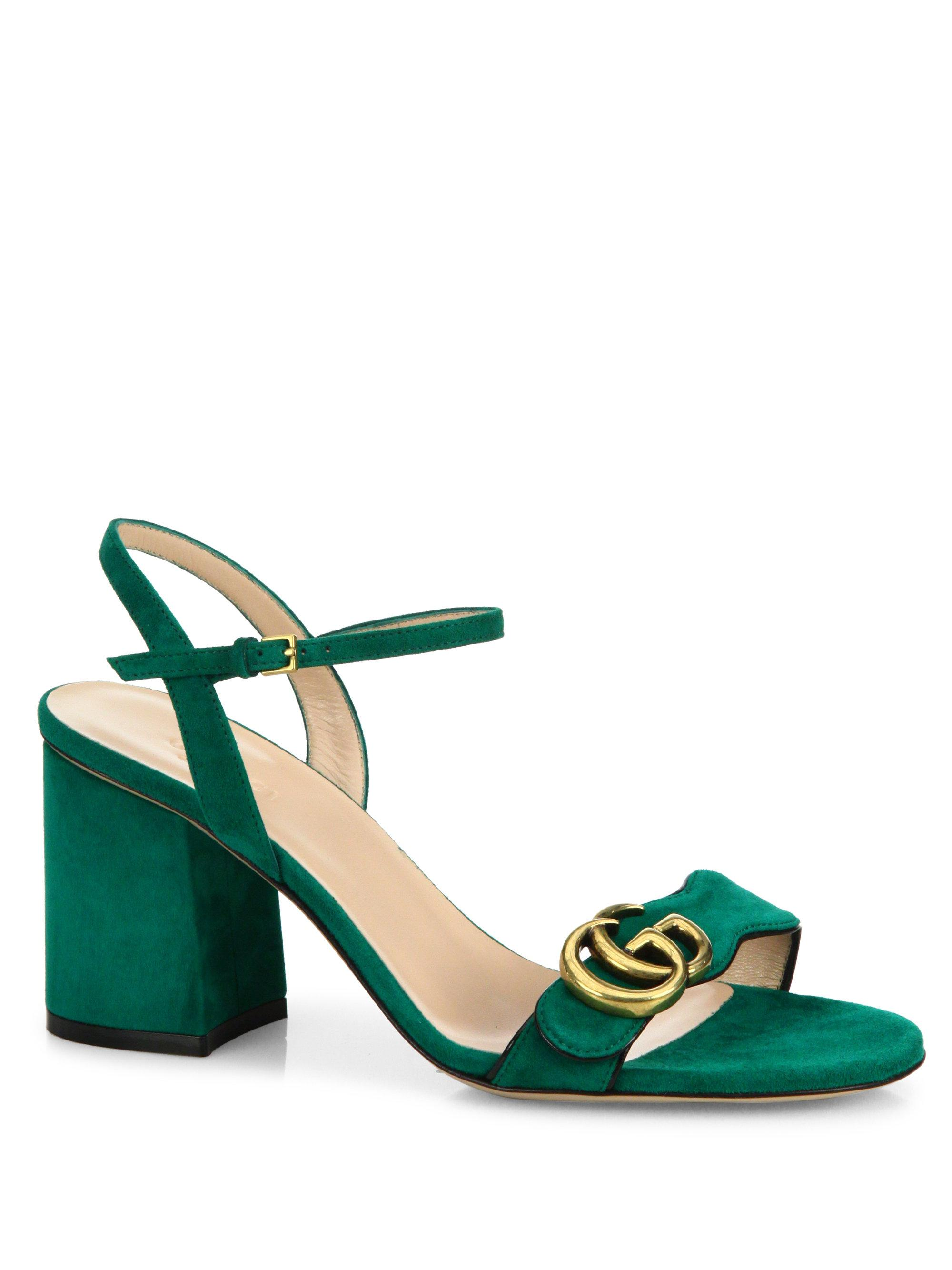 8d4d3ba09b4b Gucci Marmont Suede Block Heel Sandals in Green - Lyst