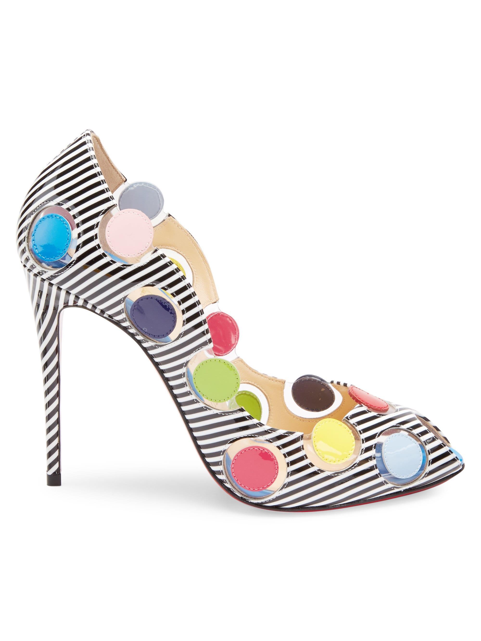 pretty nice e1d00 b73ae Christian Louboutin Multicolor Women's Lady Bug 120 Polka Dot Patent Peep  Toe Pumps