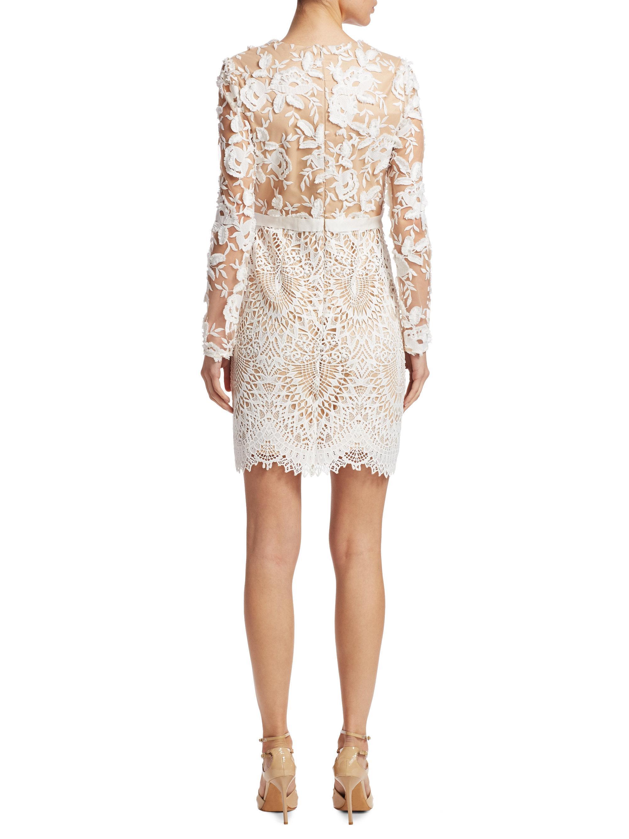 Ml Monique Lhuillier Lace Cocktail Dress In White Lyst