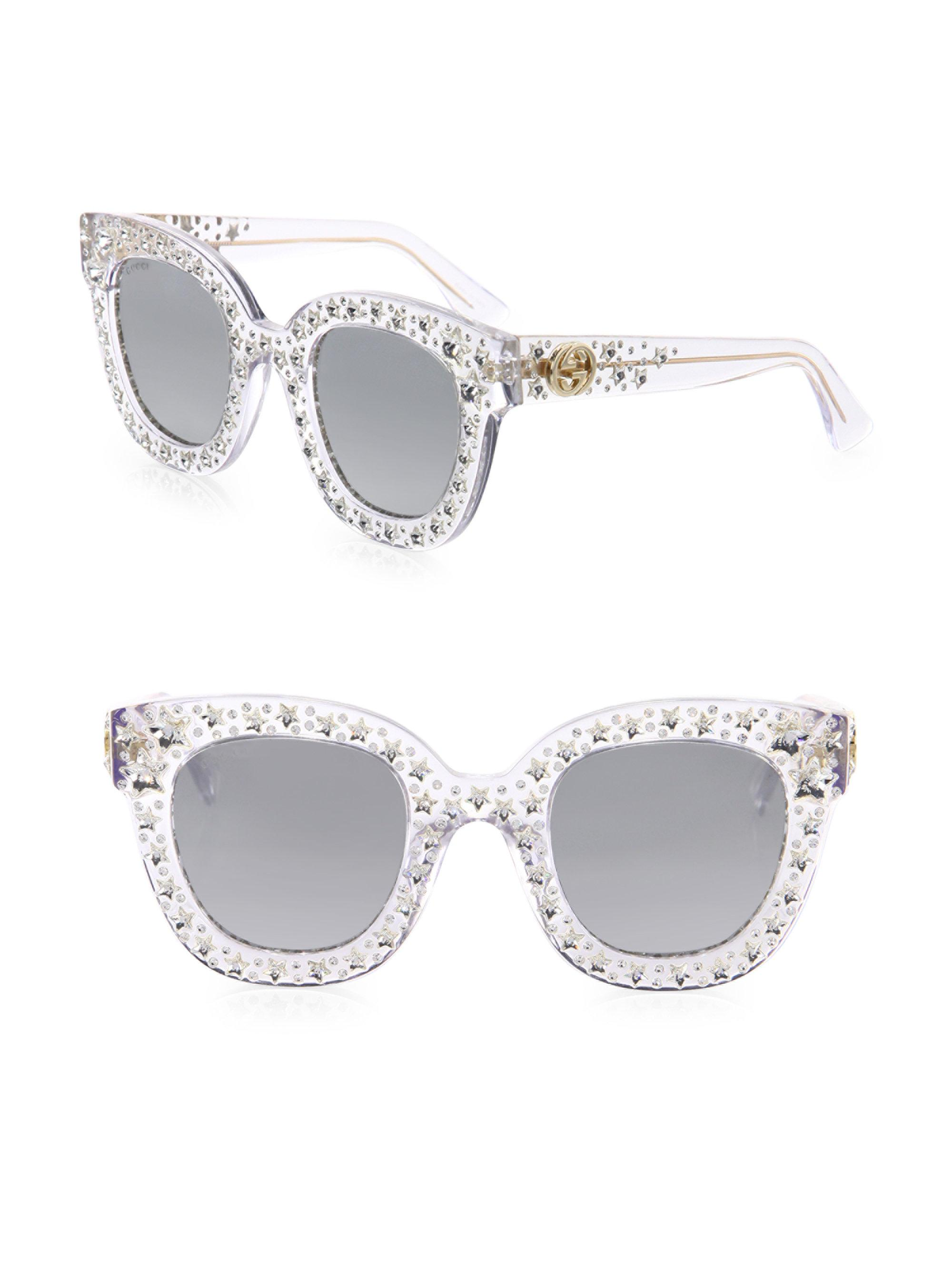 cfcfb6d6f0 Lyst - Gucci Oversize Crystal Star Mirrored Square Sunglasses in ...