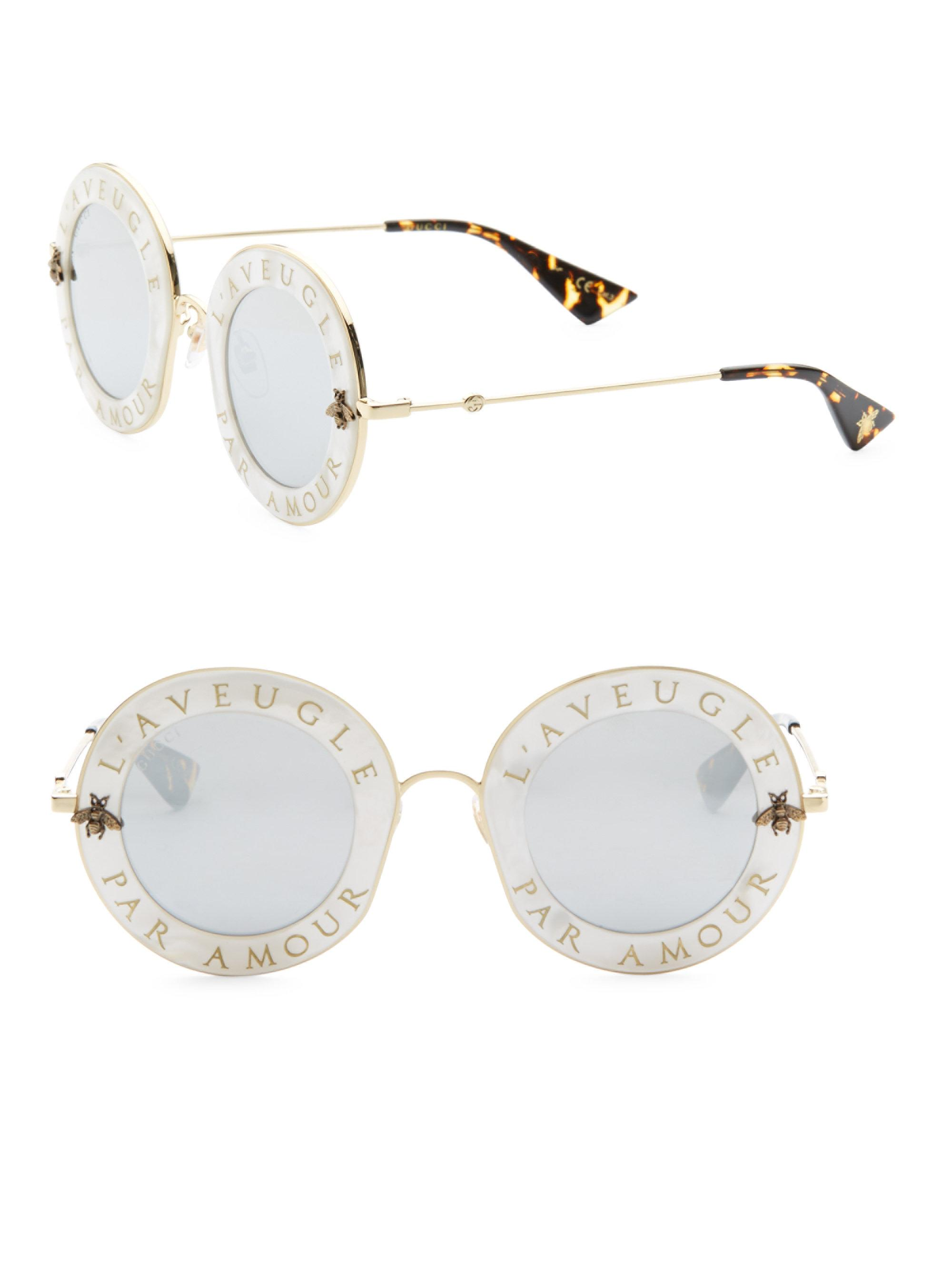 Lyst Gucci 44mm L Aveugle Par Amour Round Sunglasses In