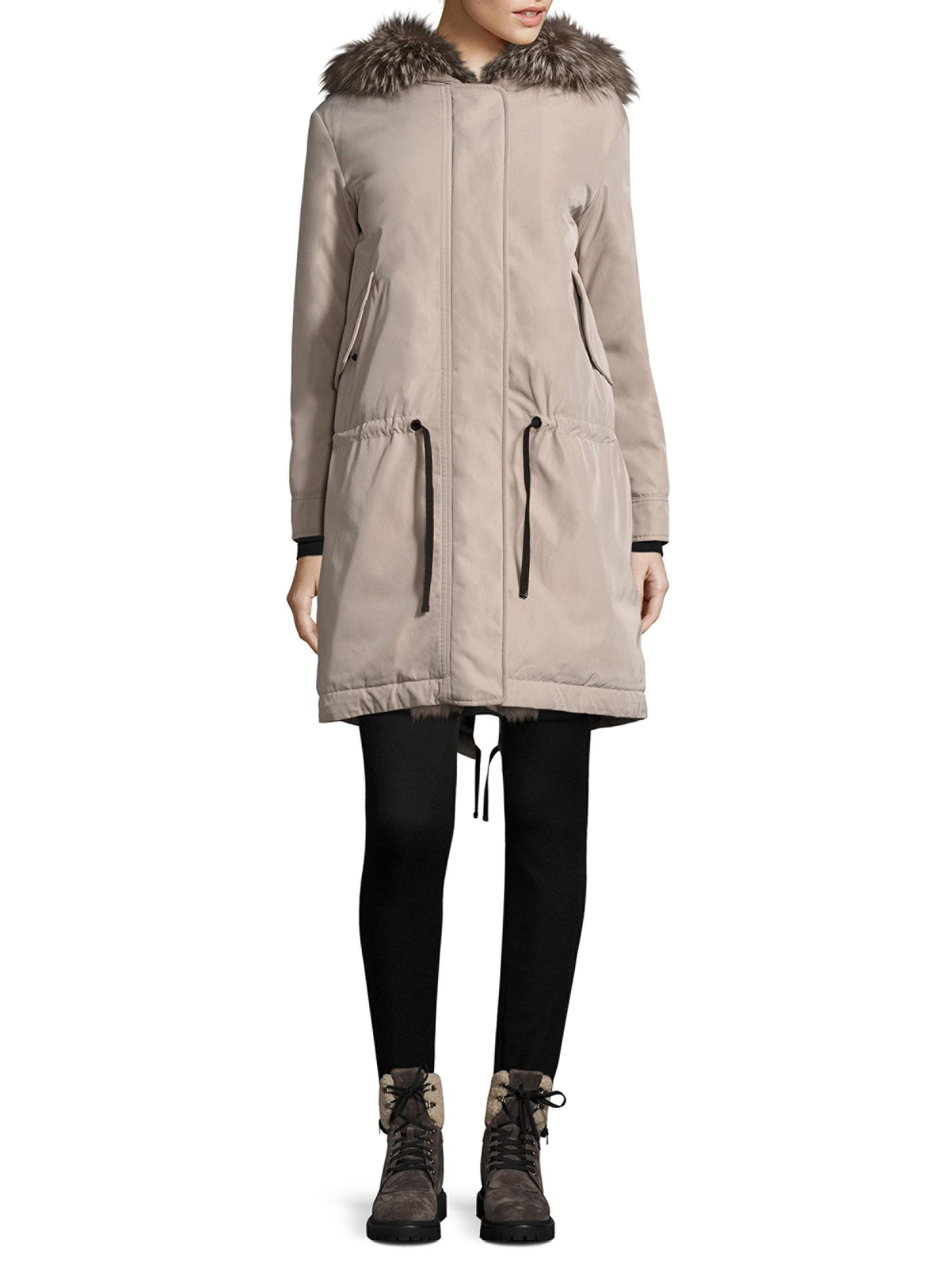Moncler. Women's Natural Veronika Blue Frost Fox Fur Jacket