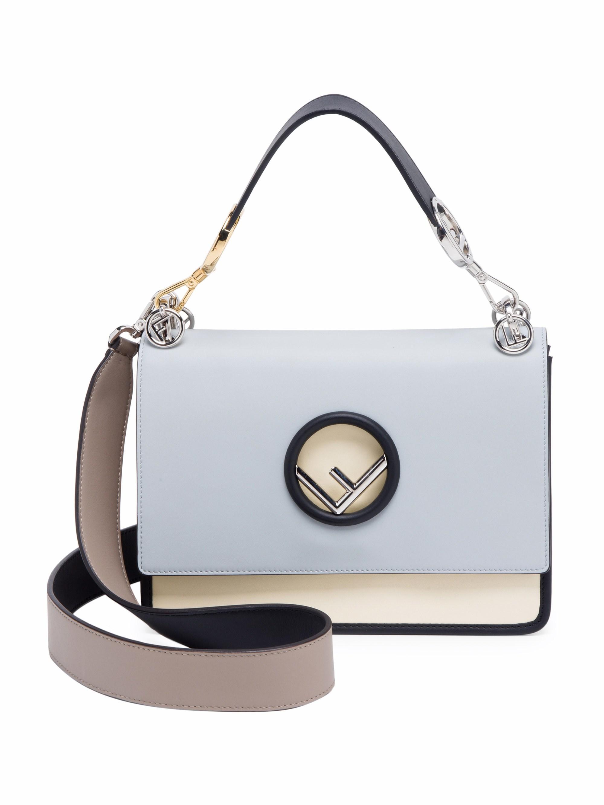 e10fe704ac6a Fendi Women s Kan I Color Block Shoulder Bag - Pearl Grey in Gray - Lyst
