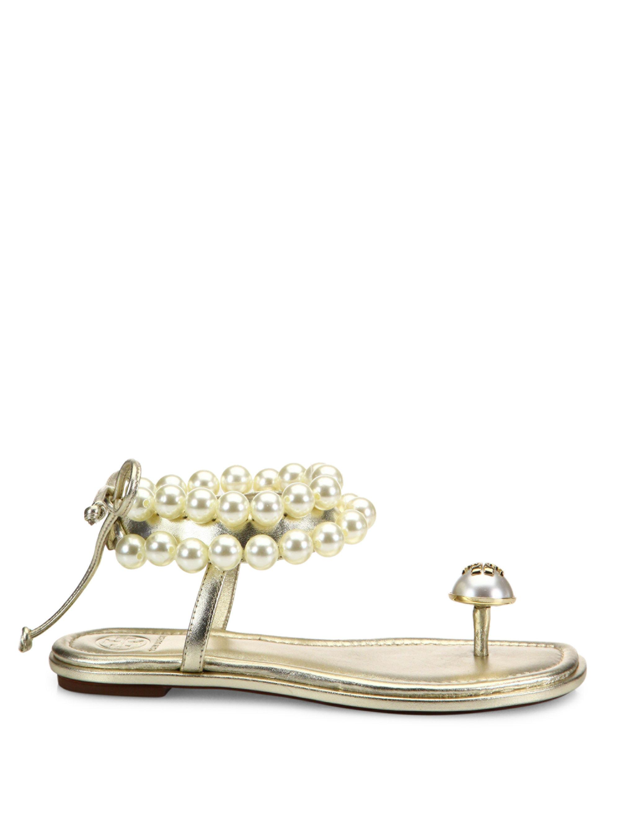 c1fedb7a610afd Lyst - Tory Burch Melody Beaded Leather Ankle Tie Sandals in Metallic