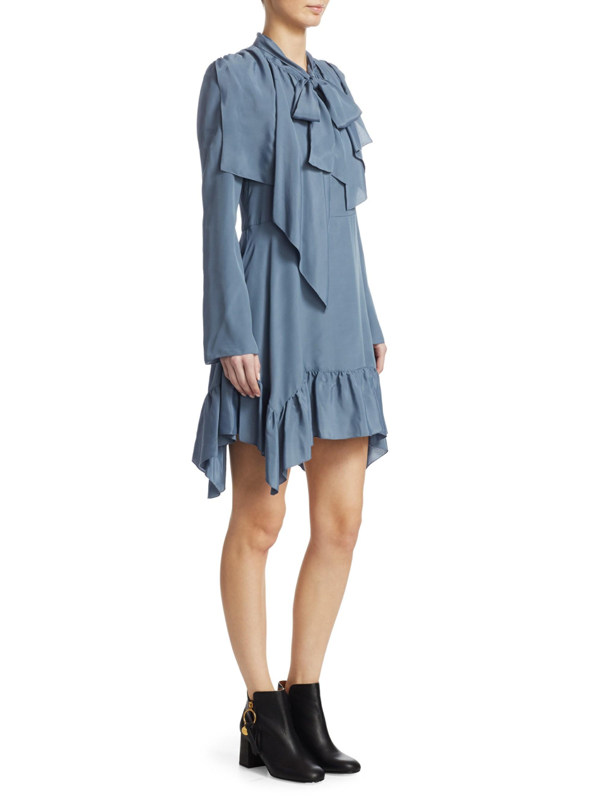7496e449 Women's Blue Crepe Tie Neck Mini Dress
