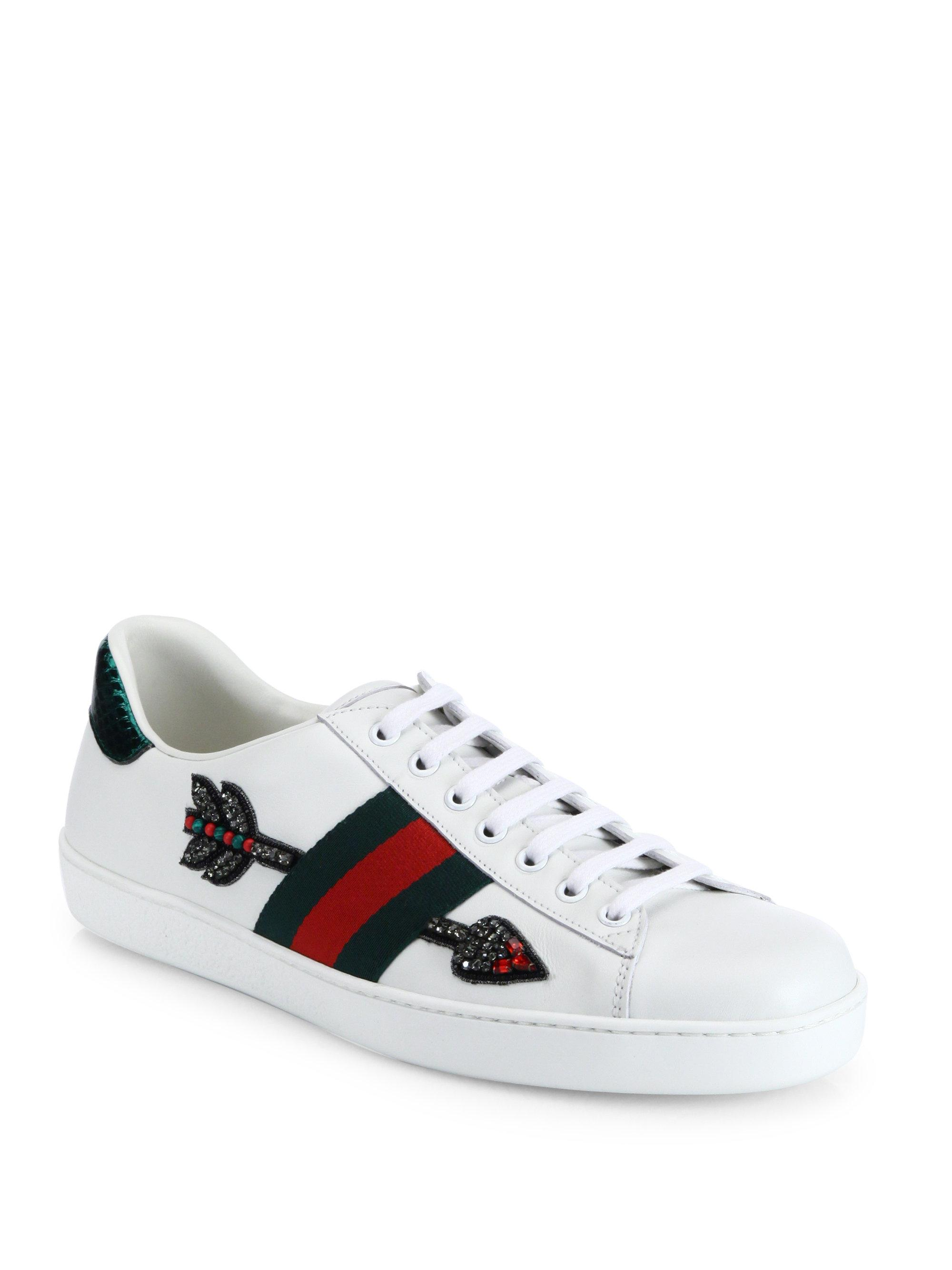 bb508683595 Lyst - Gucci New Ace Embroidered Low-top Sneakers in White for Men