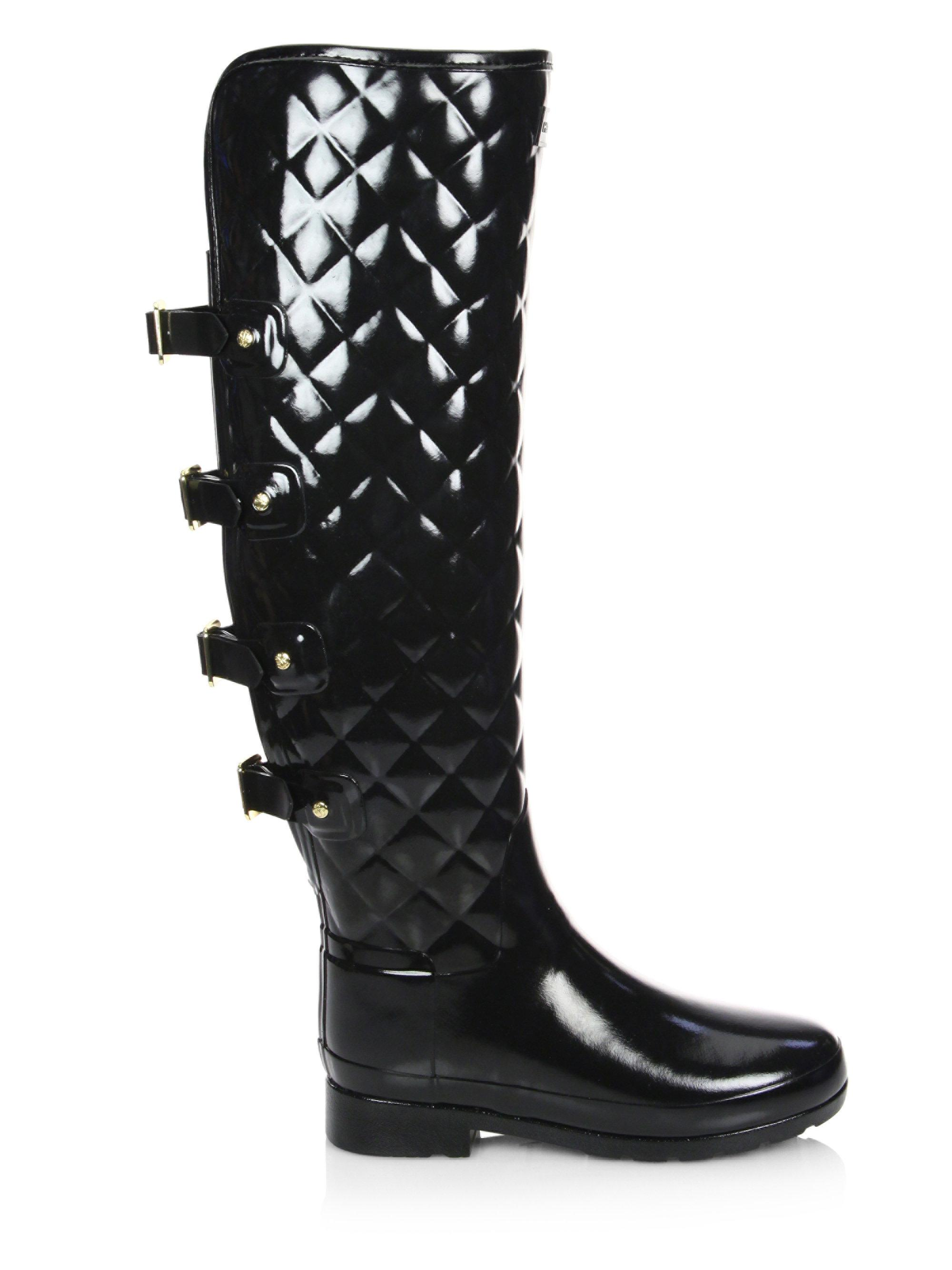 Hunter Rubber Refined Quilted Over The Knee Rain Boots In