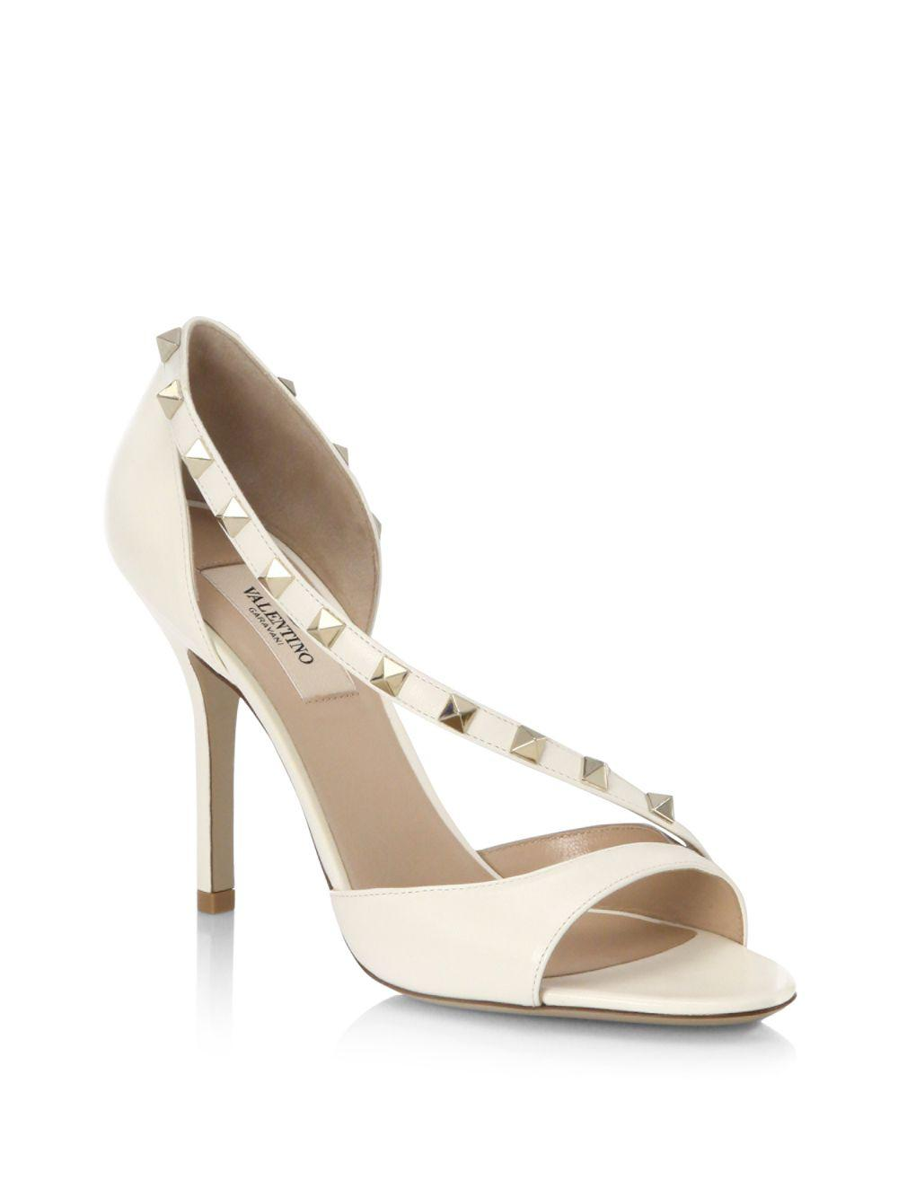 2eb3c327a78 Lyst - Valentino Rockstud Leather D orsay Peep Toe Pumps in White
