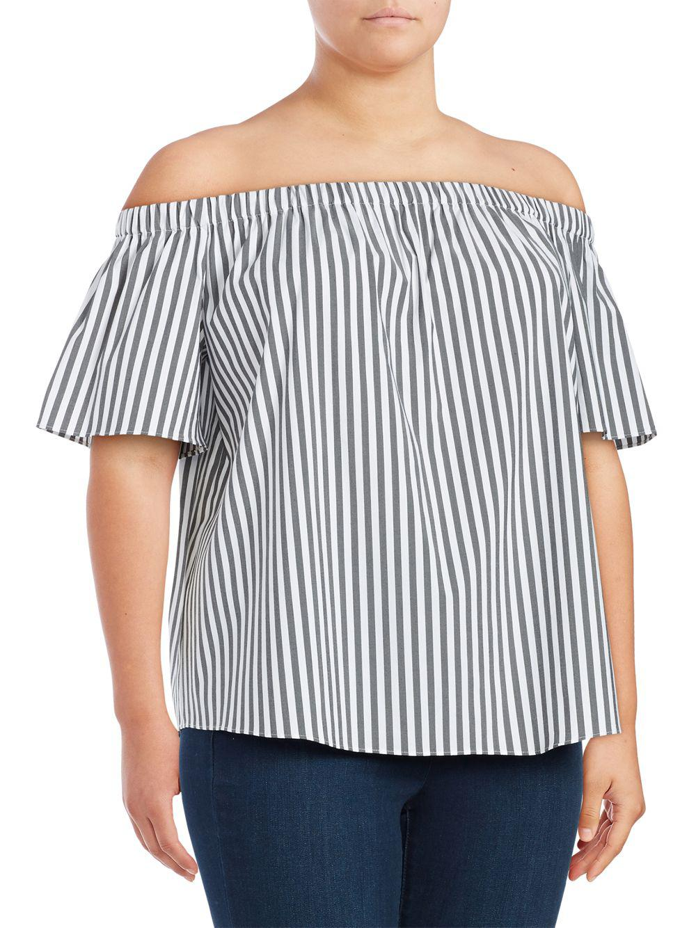 7df28d15589 Lyst - Vince Camuto Plus Striped Off-the-shoulder Top in Gray - Save 29%