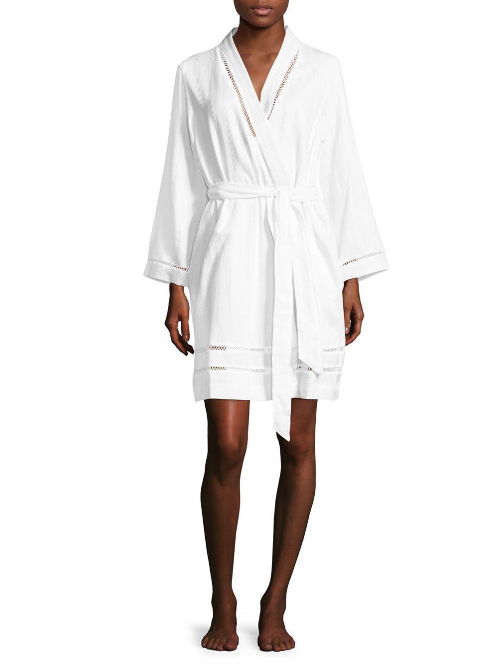 Lyst - Carole Hochman Luxe Spa Short Cotton Robe in White - Save 25%