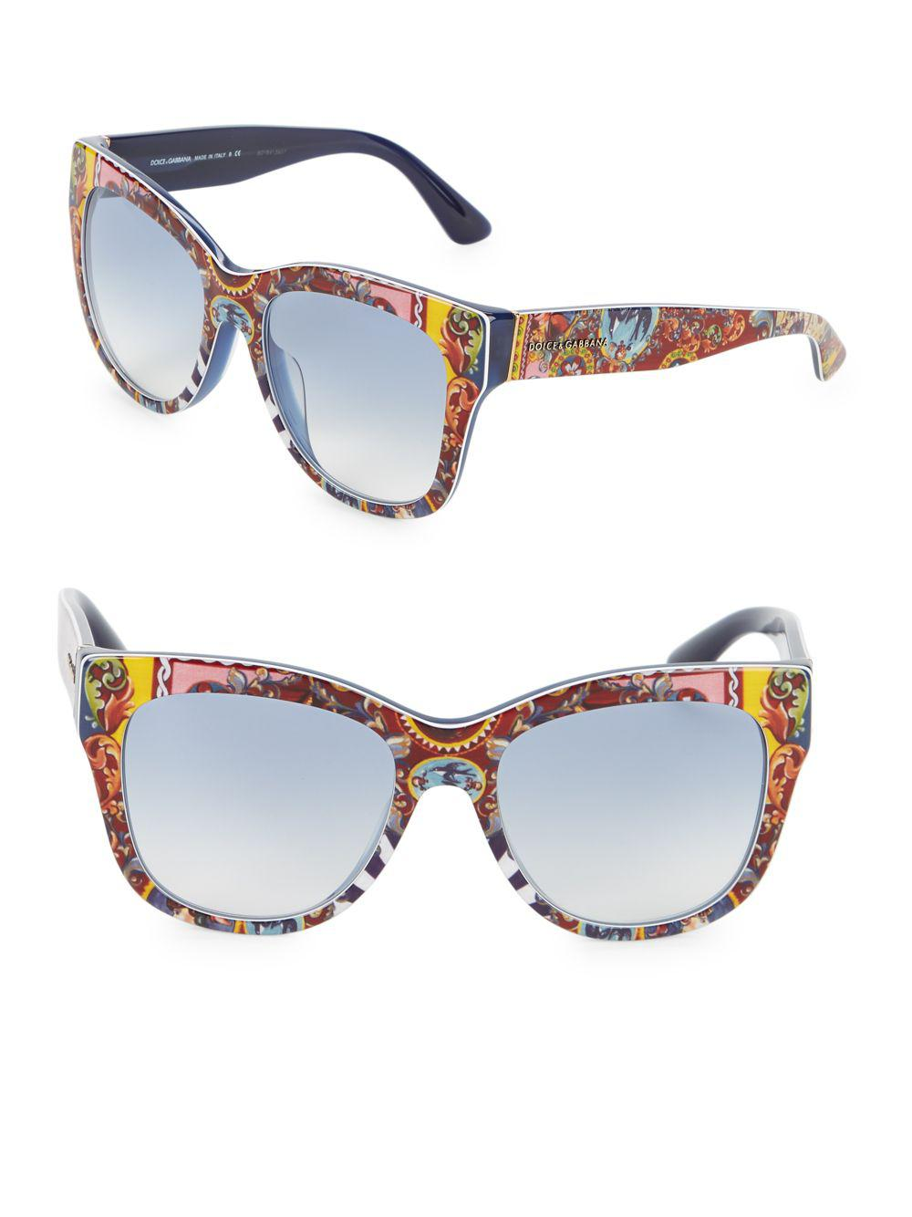 98e3981f66 Lyst - Dolce   Gabbana Multicolored-print Wayfarer Sunglasses in ...