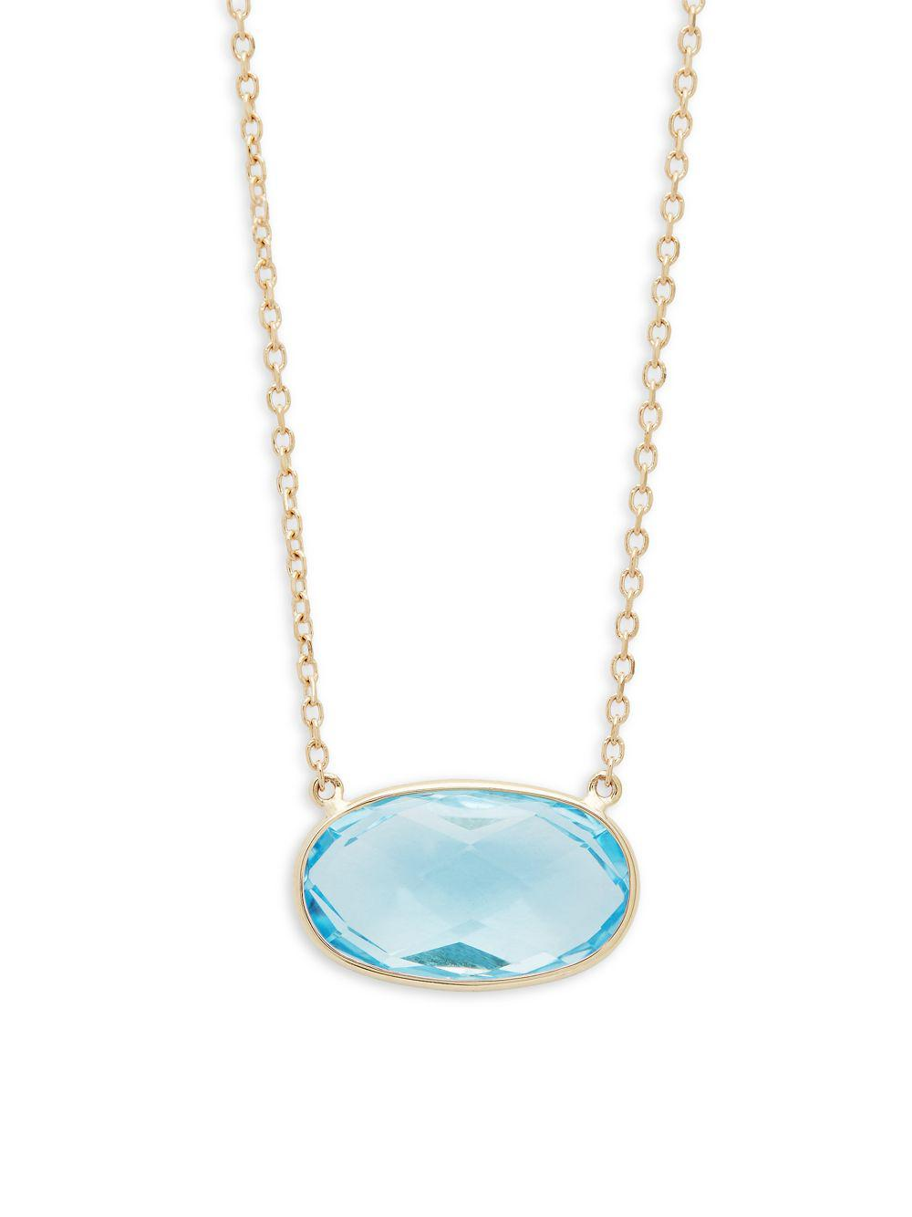 Lyst saks fifth avenue oval sky blue topaz and 14k yellow gold saks fifth avenue womens oval sky blue topaz and 14k yellow gold pendant necklace aloadofball Image collections
