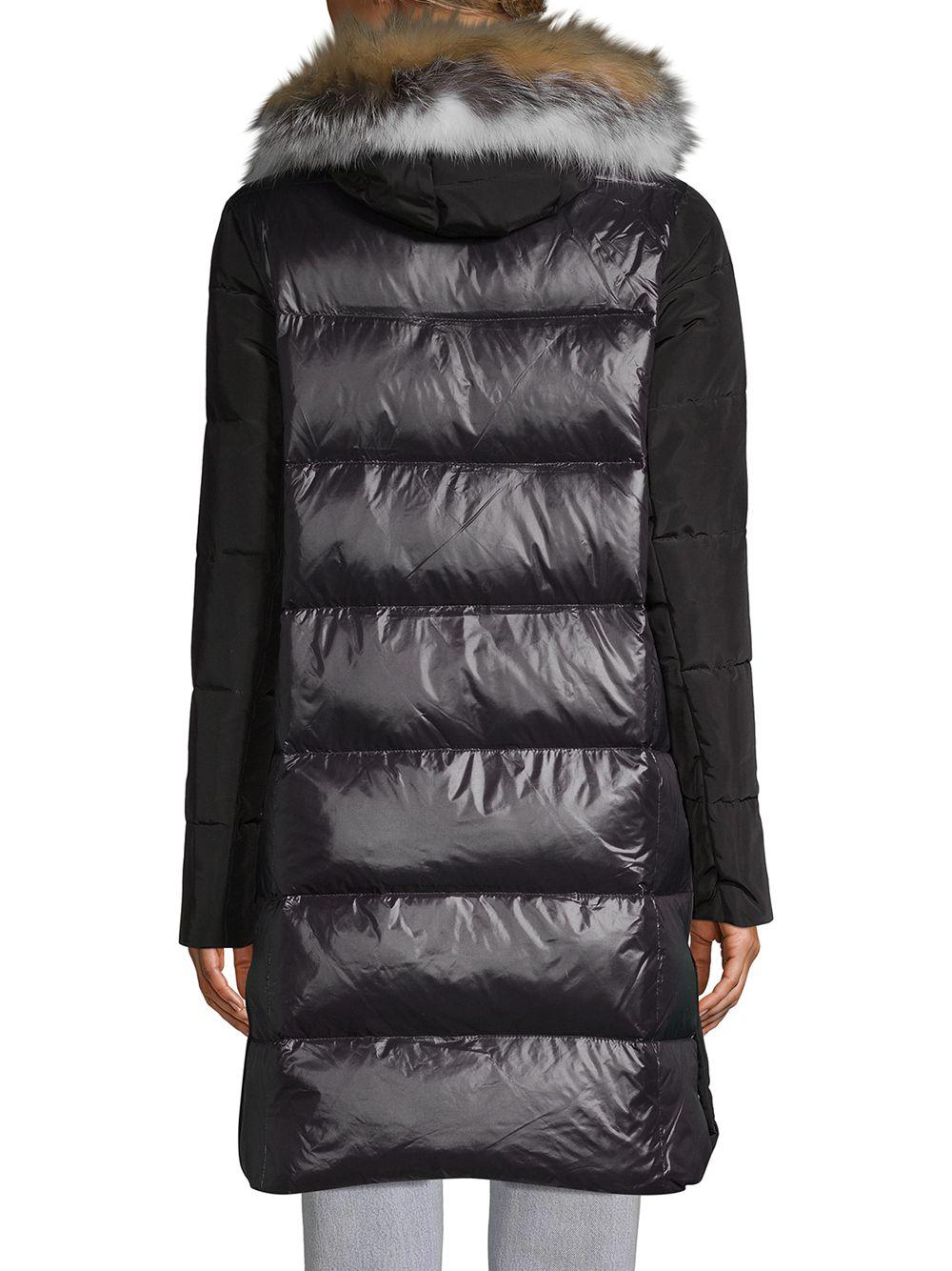 7e46bc514493 10 Crosby Derek Lam Fox-fur Trimmed Quilted Down Parka Coat in Black ...