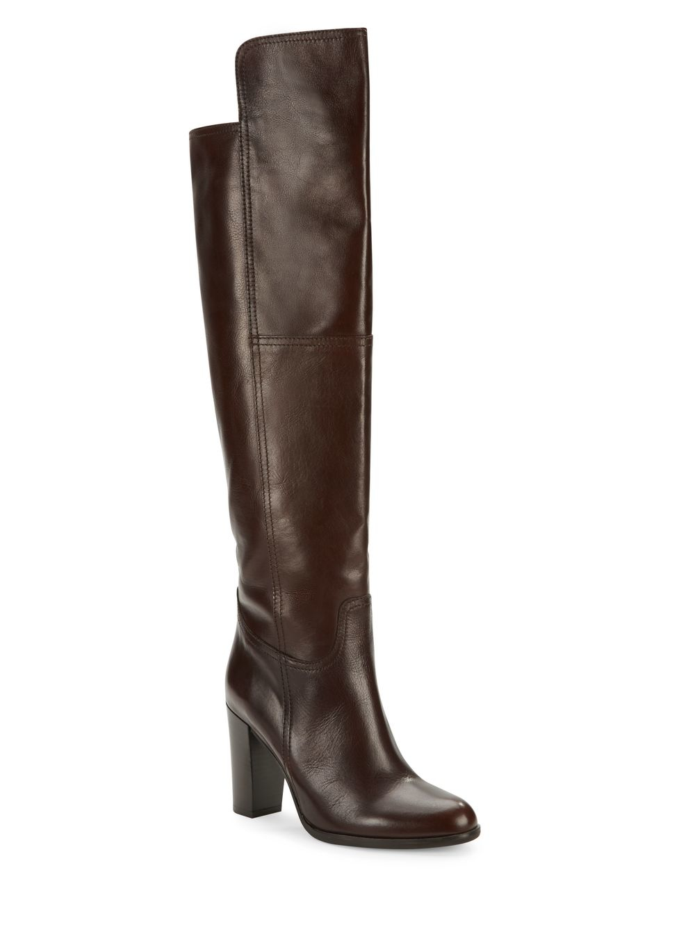 saks fifth avenue leather the knee boots in brown lyst