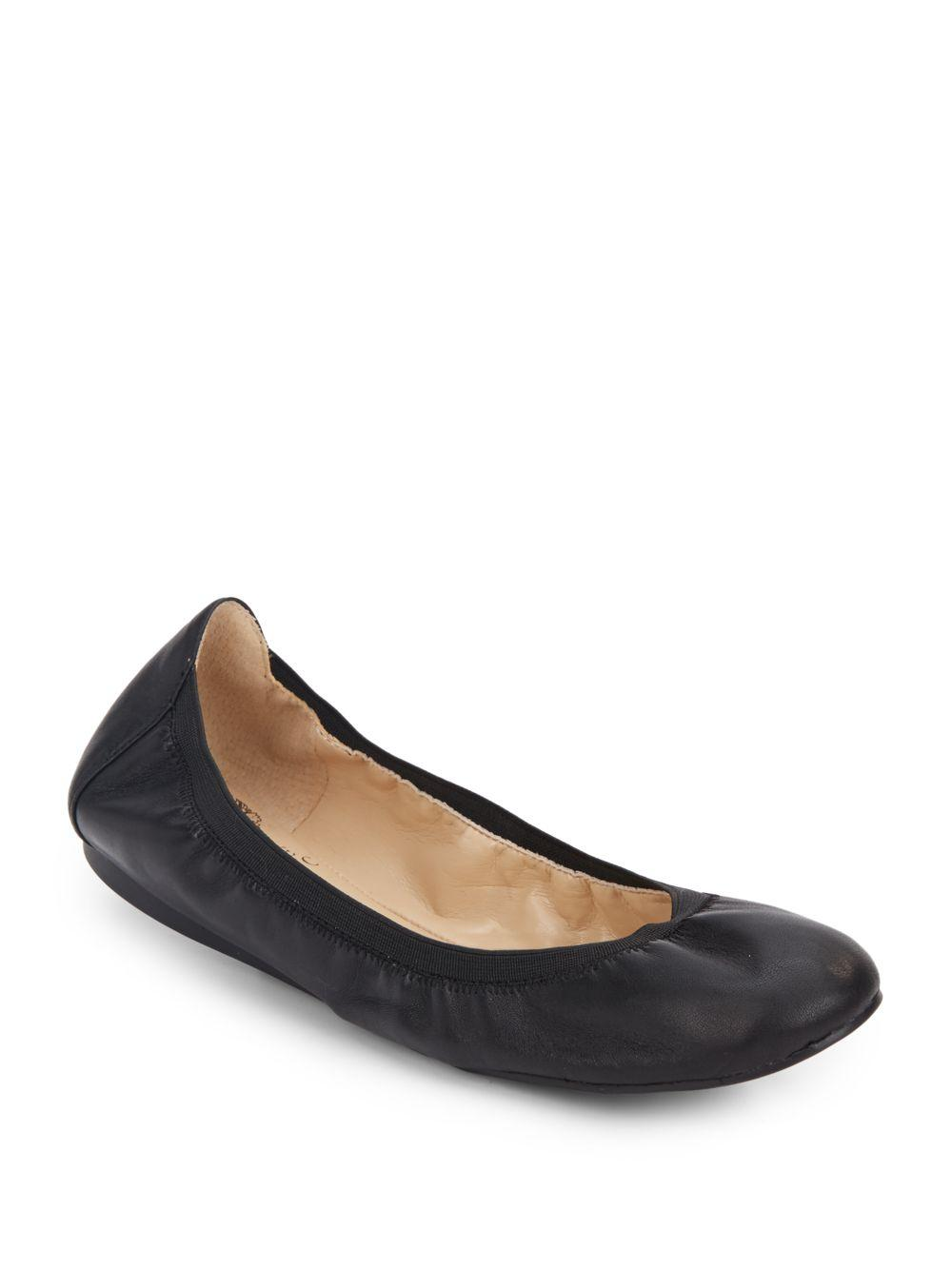 Vince Camuto Eliyah Leather Flats In Black Lyst