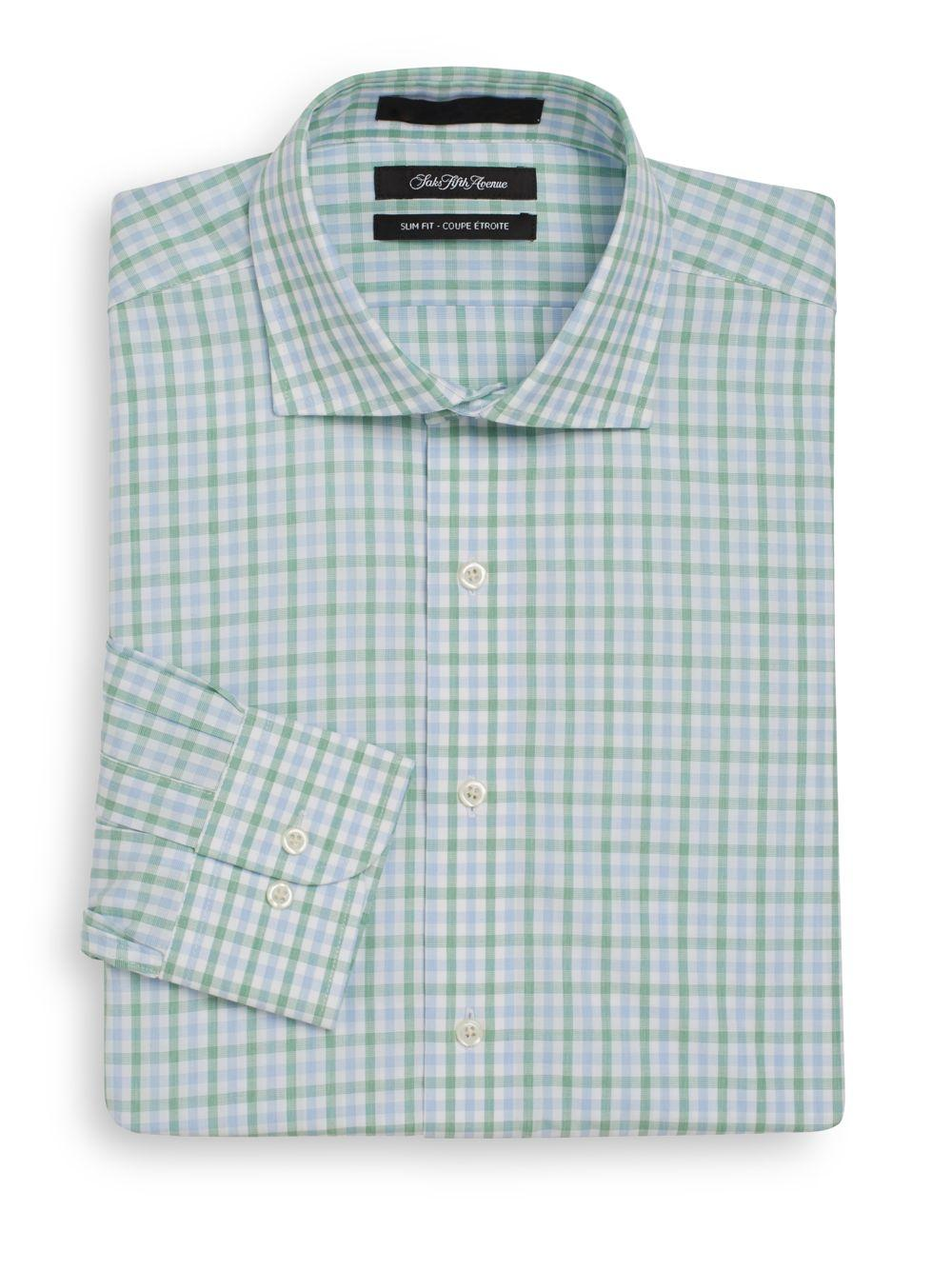 Saks fifth avenue slim fit two tone gingham cotton dress for Mens green gingham dress shirt