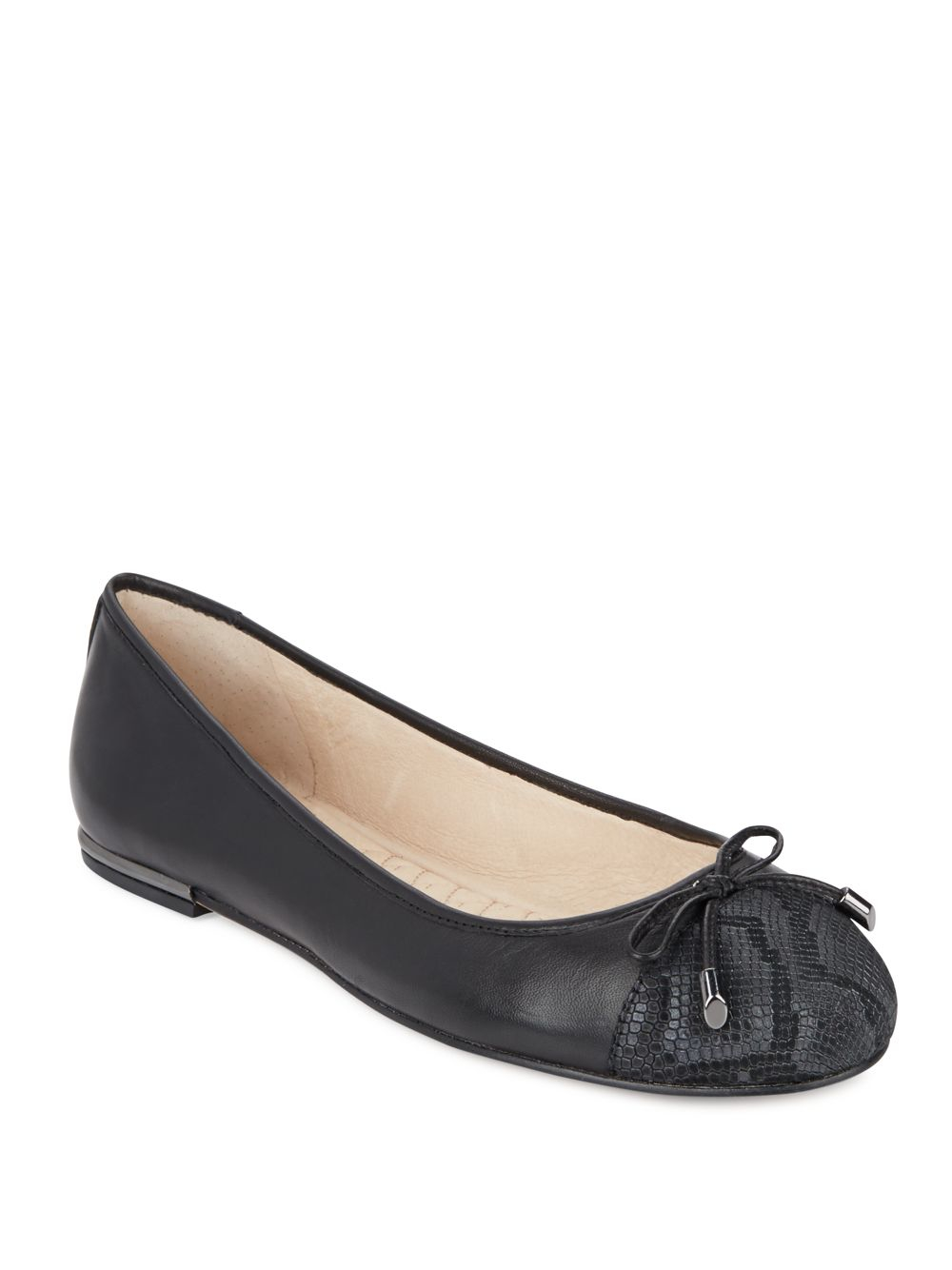 Vince Camuto Izella Cap Top Leather Ballet Flats In Black