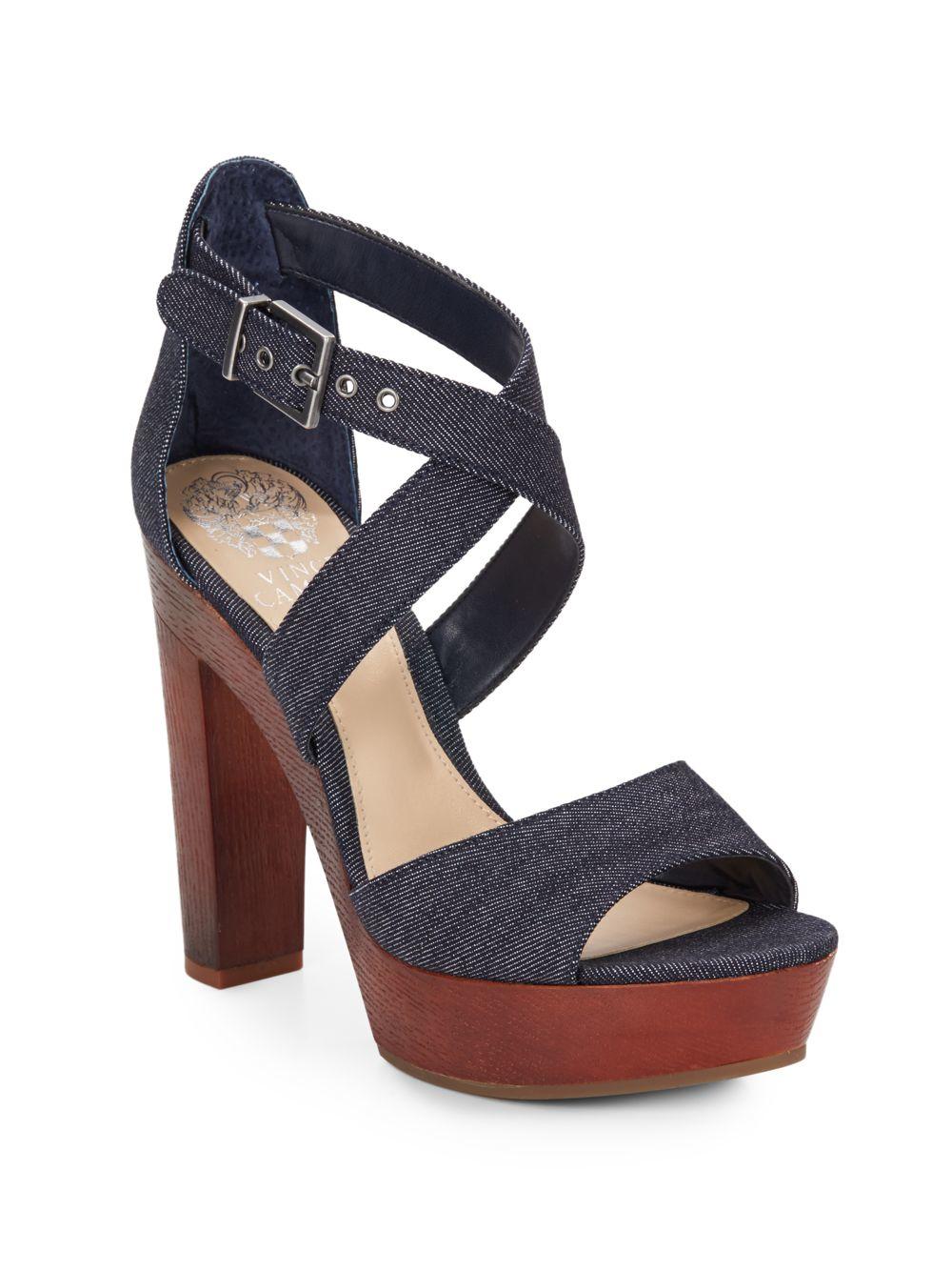 vince camuto eliza denim wood platform sandals in