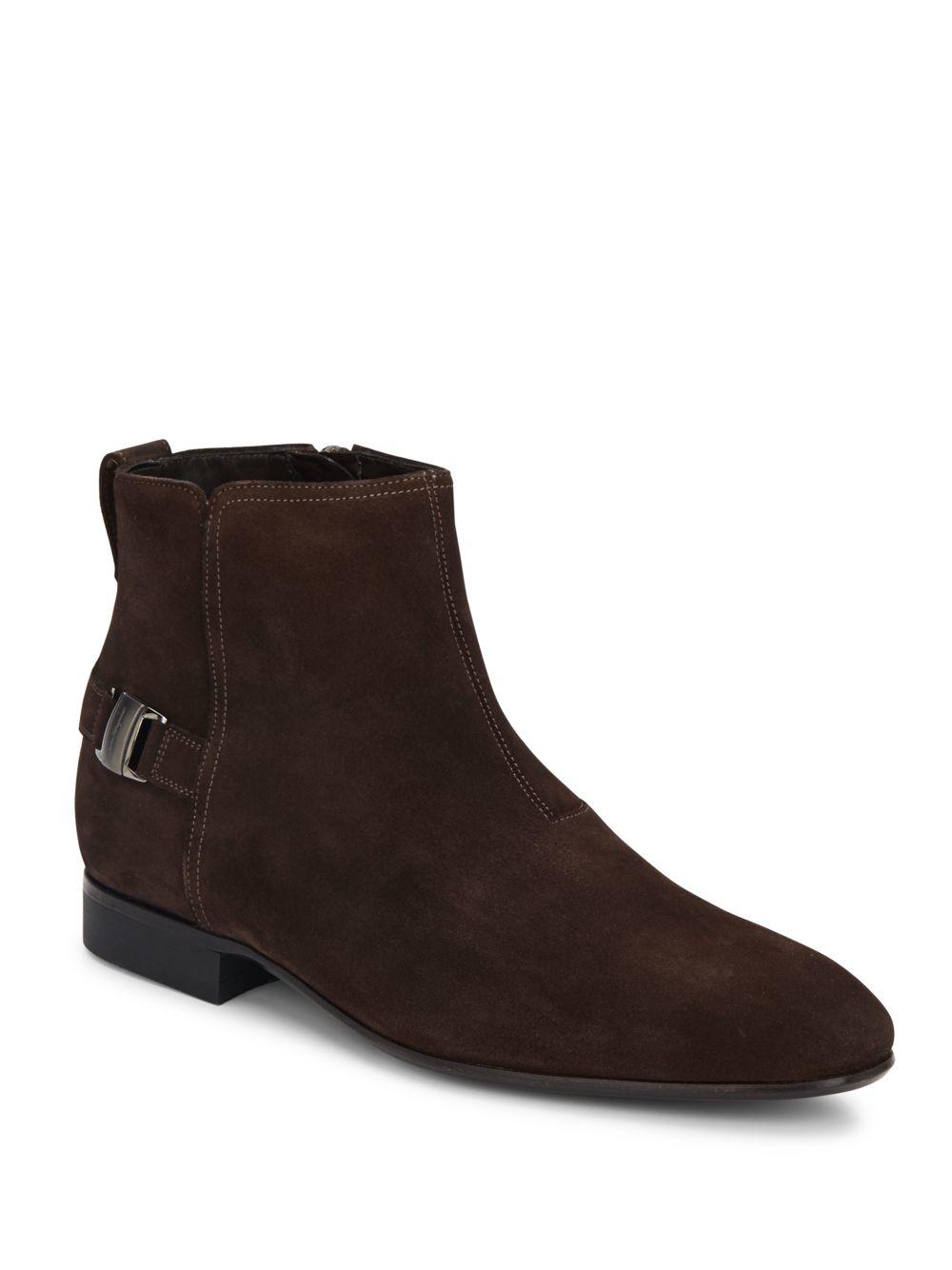 ferragamo suede buckle boots in brown lyst