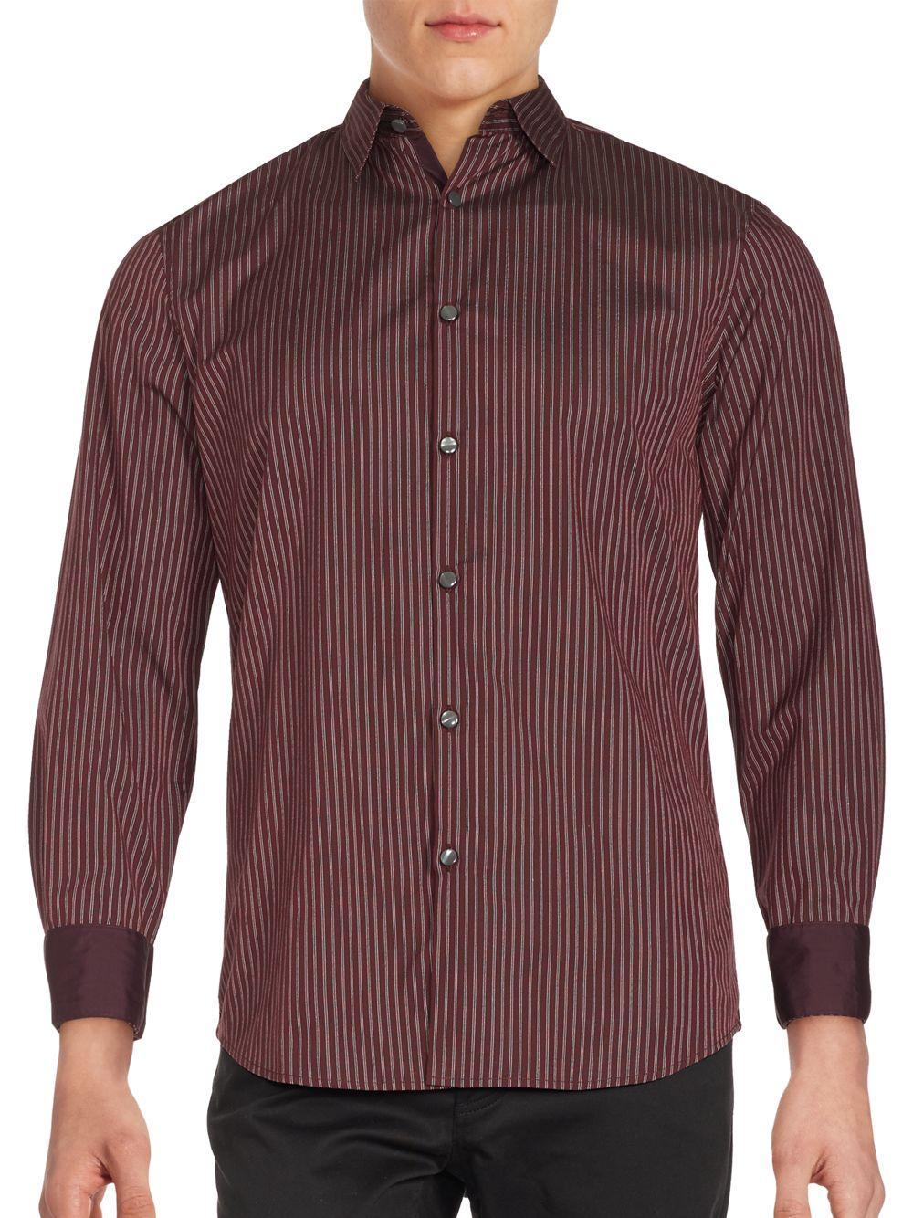 John varvatos striped cotton button down shirt in red for for Red and white striped button down shirt