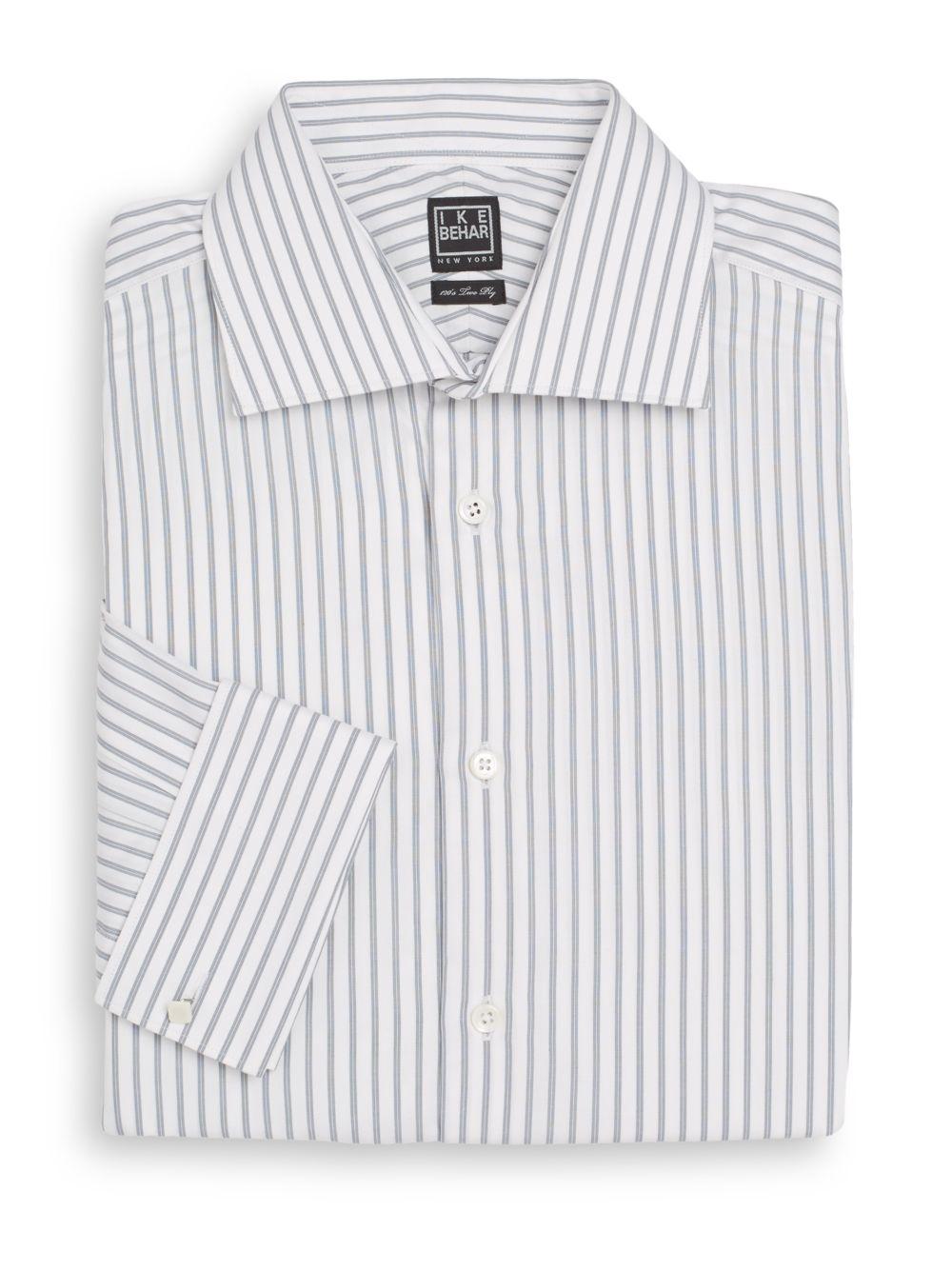 Ike behar herringbone stripe cotton dress shirt in white for White herringbone dress shirt