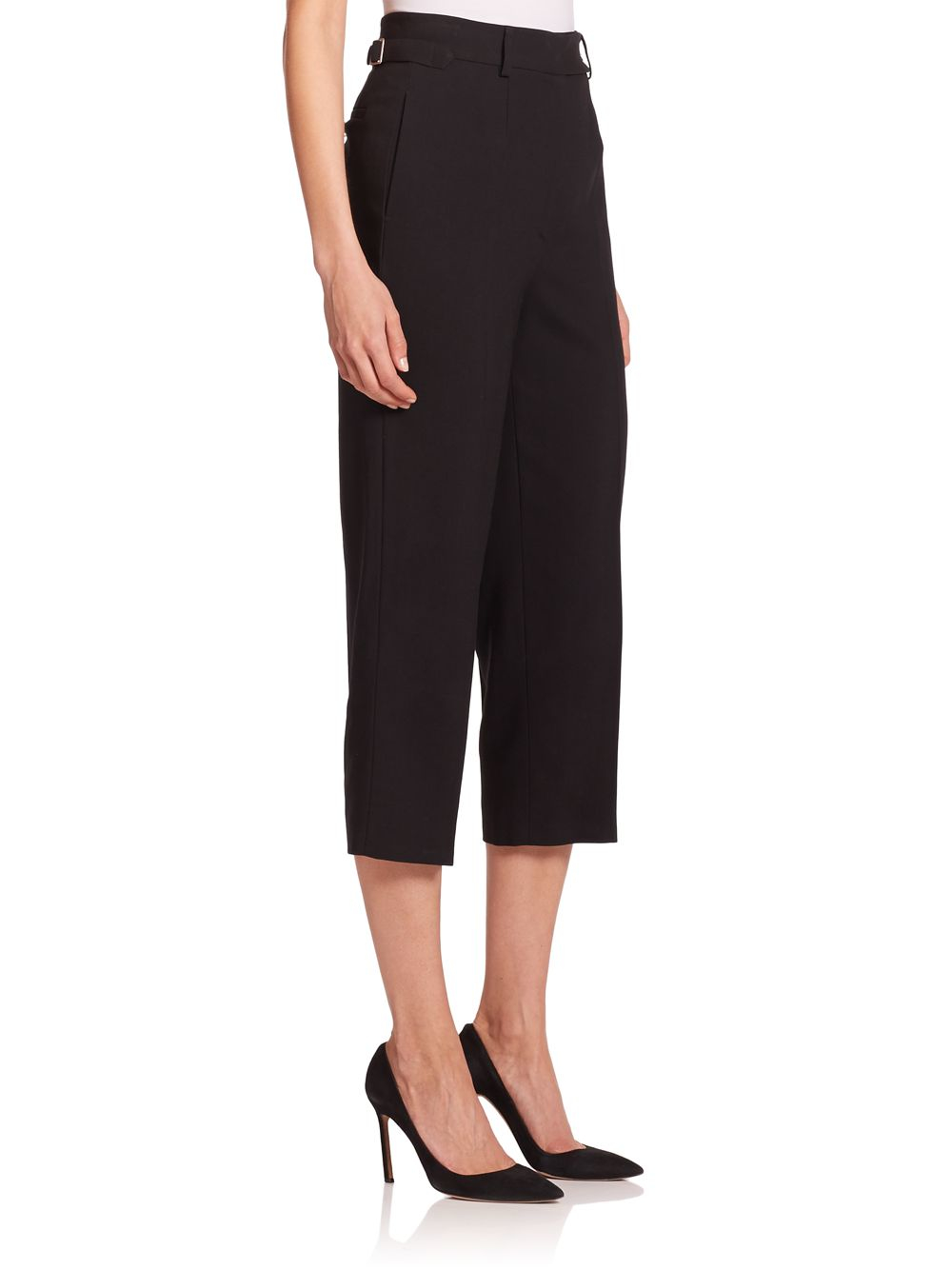 Red Valentino High Waist Cropped Wool Jersey Pants In