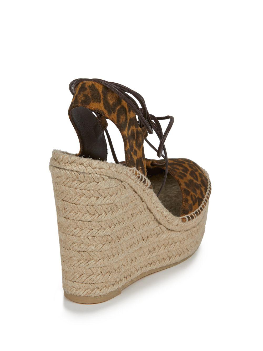 Saint Laurent Leopard Print Suede Espadrille Wedge Sandals