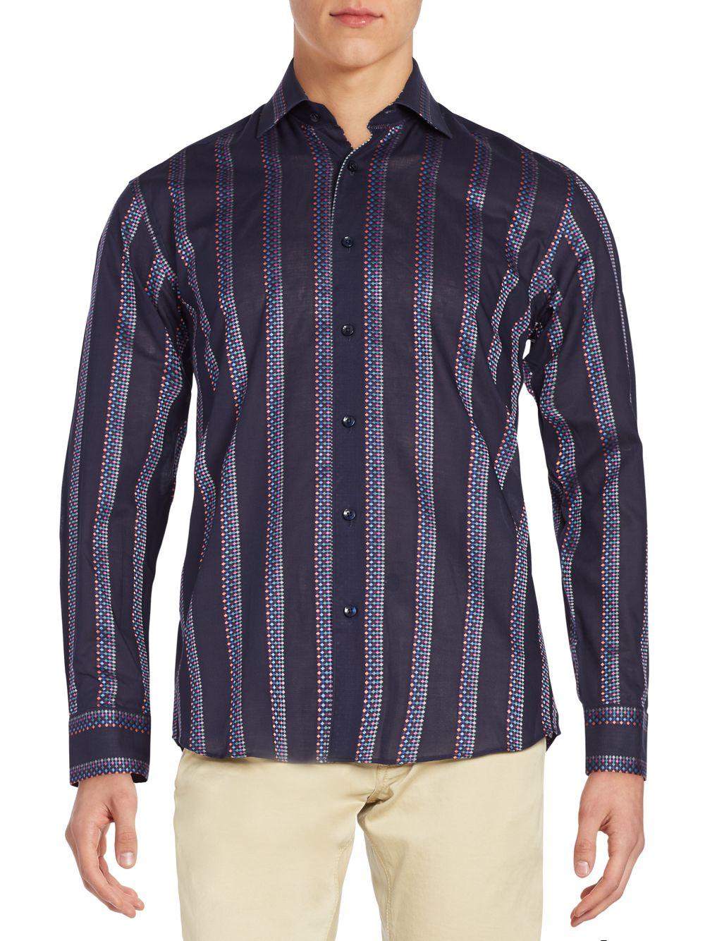 Bertigo striped button down shirt in metallic for men lyst for Striped button down shirts for men