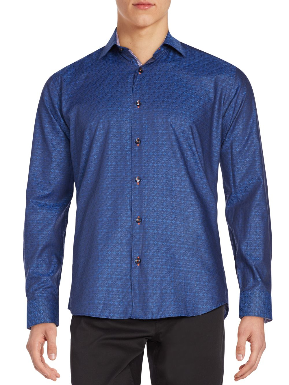 Jared lang printed cotton button down shirt in blue for for Cotton button down shirts men