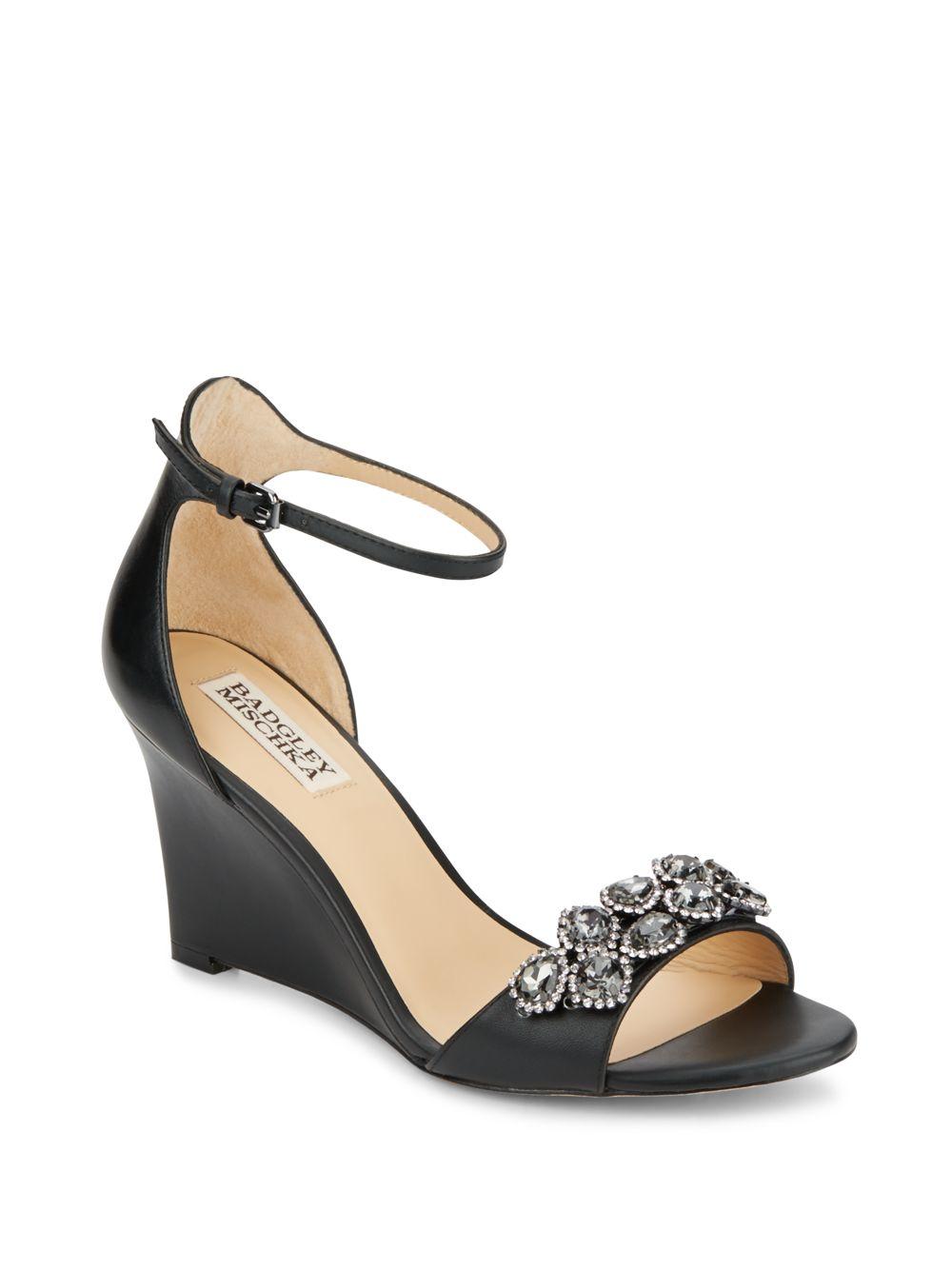badgley mischka embellished wedge sandals in black lyst