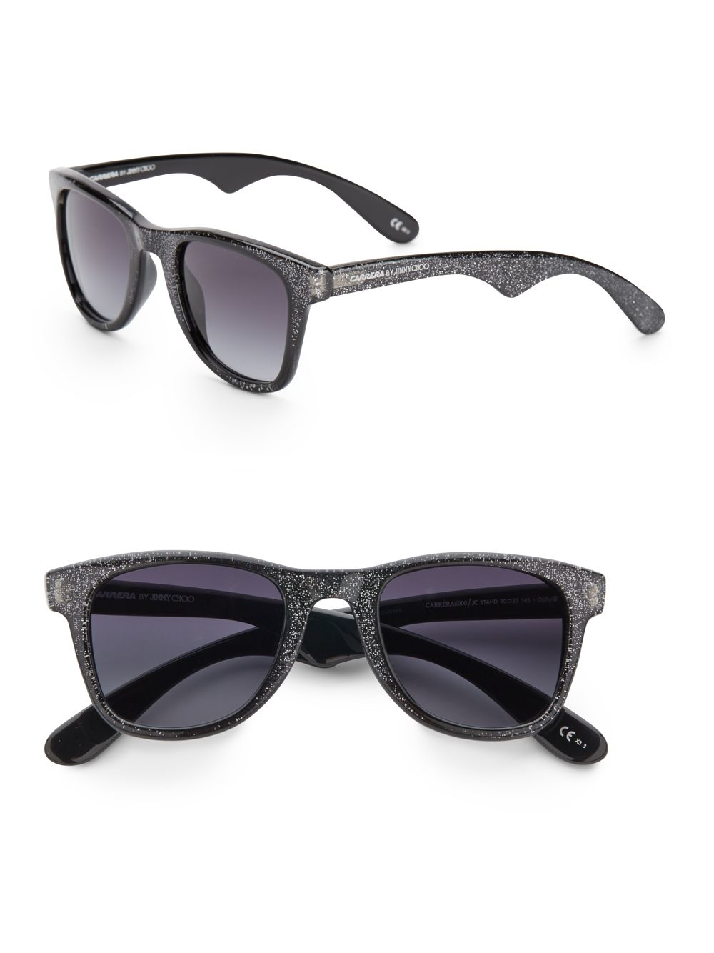 4a5344be2dad2 Lyst - Jimmy Choo 50mm Glitter Wayfarer Sunglasses in Gray