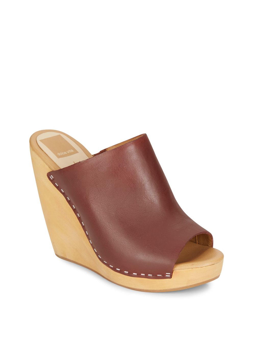 dolce vita connee leather platform wedge sandals in brown