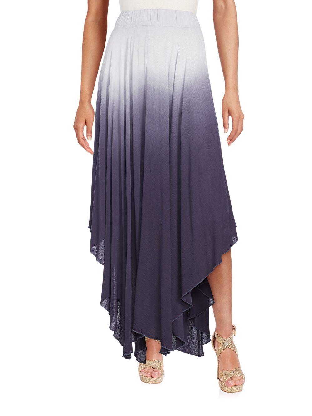 cirana ombre handkerchief hem maxi skirt in purple lyst