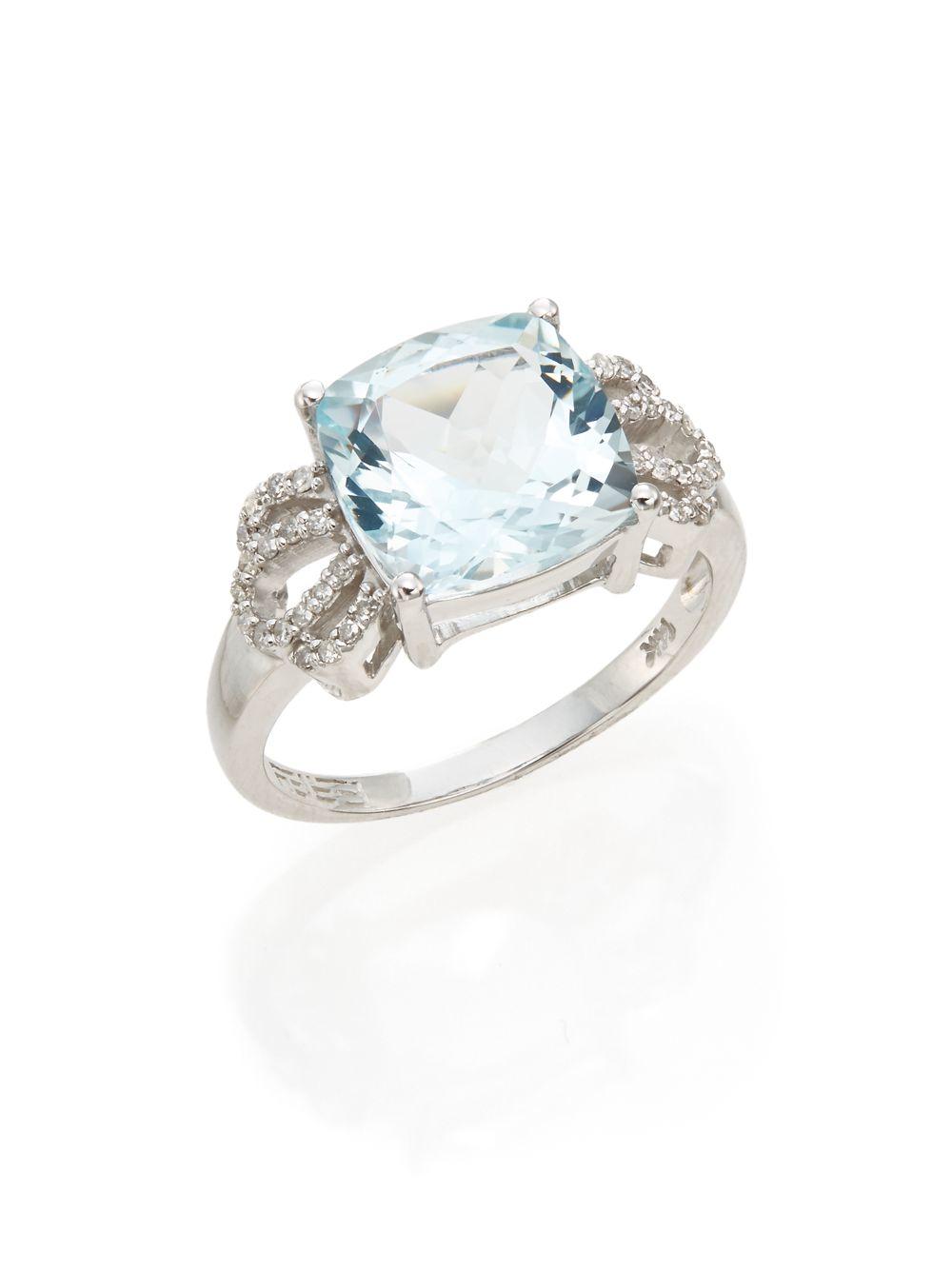 effy aquamarine 14k white gold ring in metallic