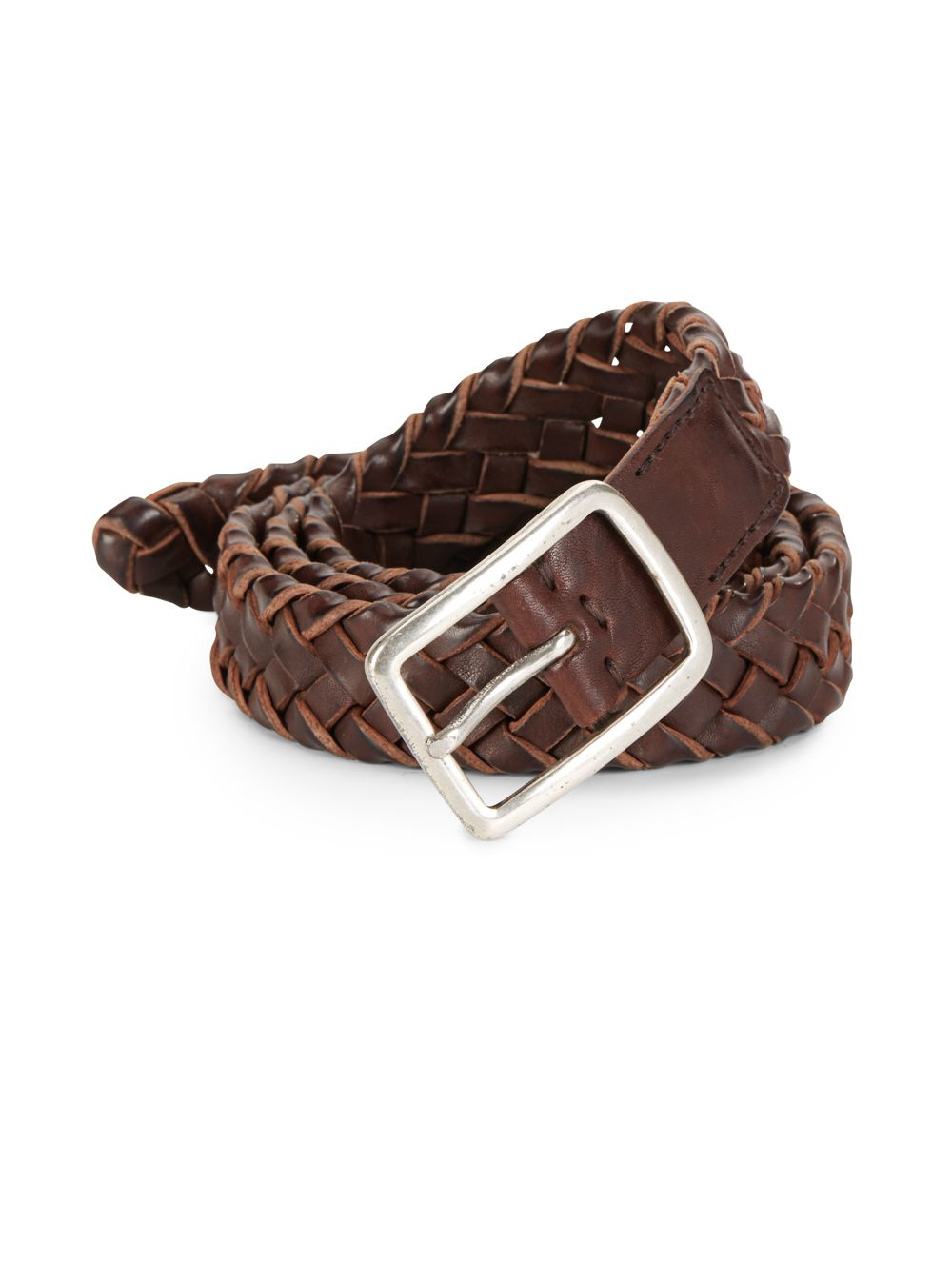 brunello cucinelli braided leather belt in brown for