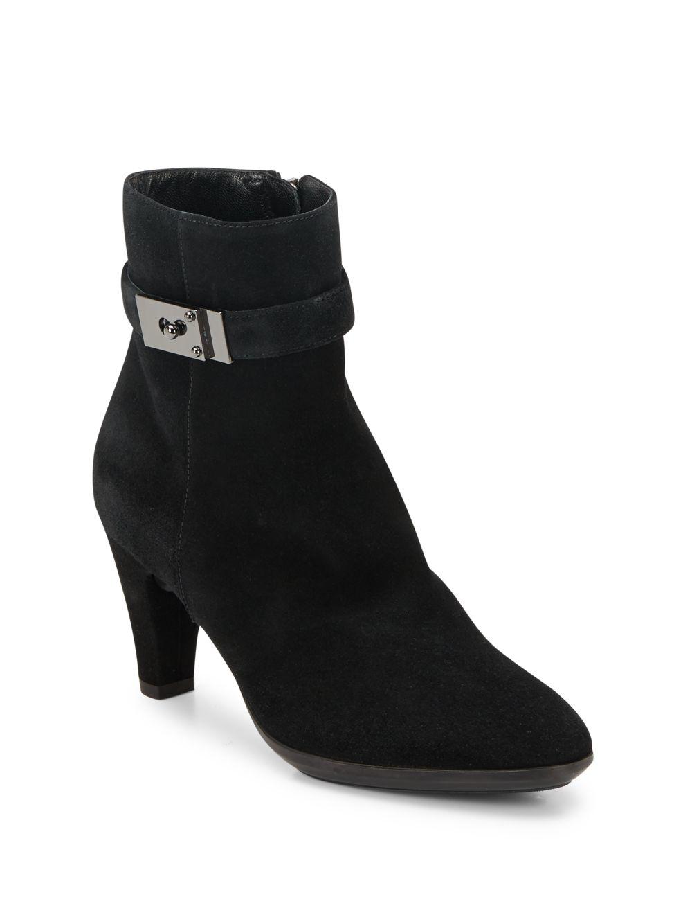 Aquatalia Dana Suede Ankle Boots In Black Lyst