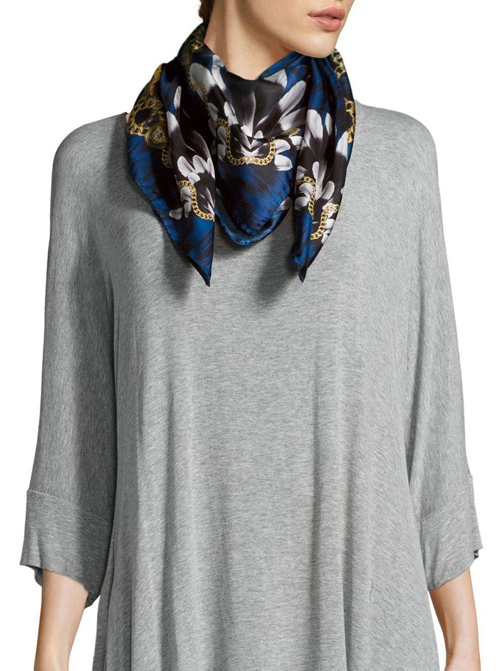 versace printed italian silk scarf in blue lyst