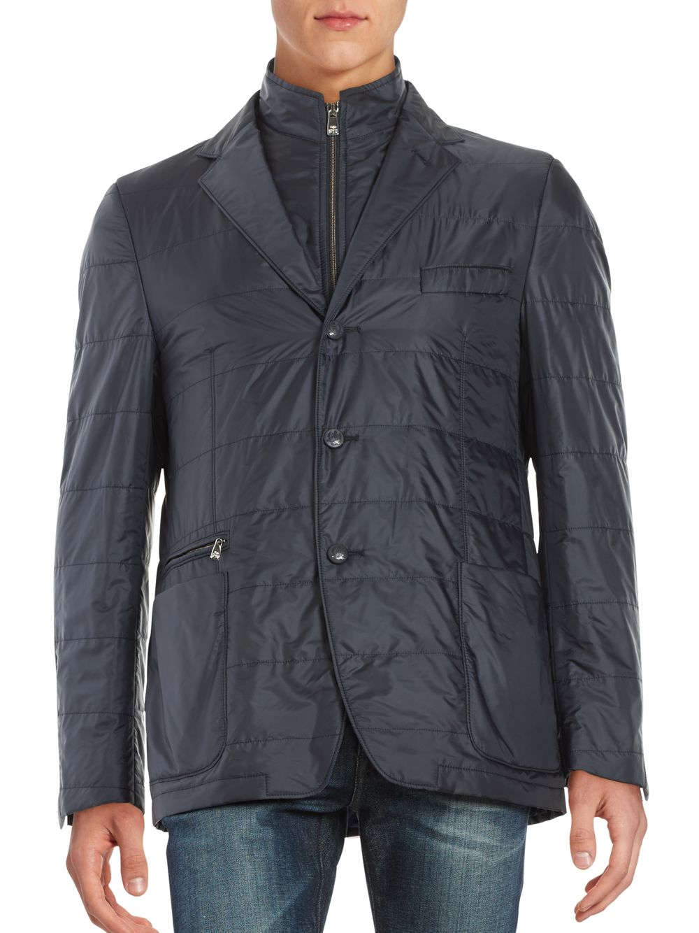 Corneliani Wool Blend Quilted Jacket In Gray For Men Lyst