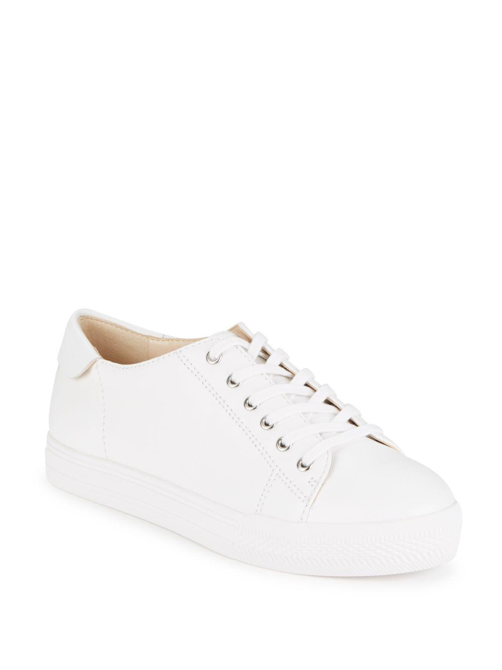 Nine West Patrick Leather Platform Sneakers In White Lyst