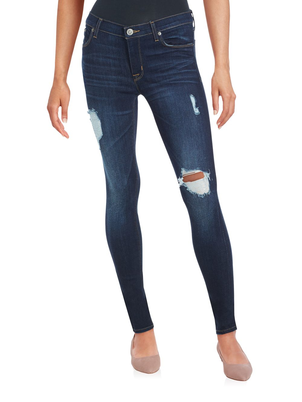 Lyst - Hudson Jeans Distressed Skinny Jeans in Blue